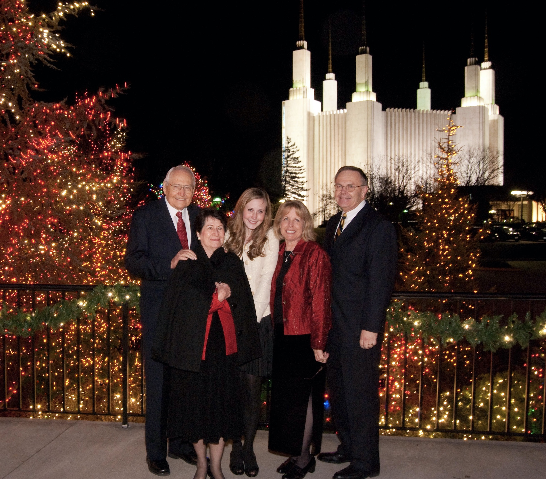 Elder Perry, Sister Perry, Rachel, Carolyn and Lee Perry at the Washington D.C. Temple in December 2012.