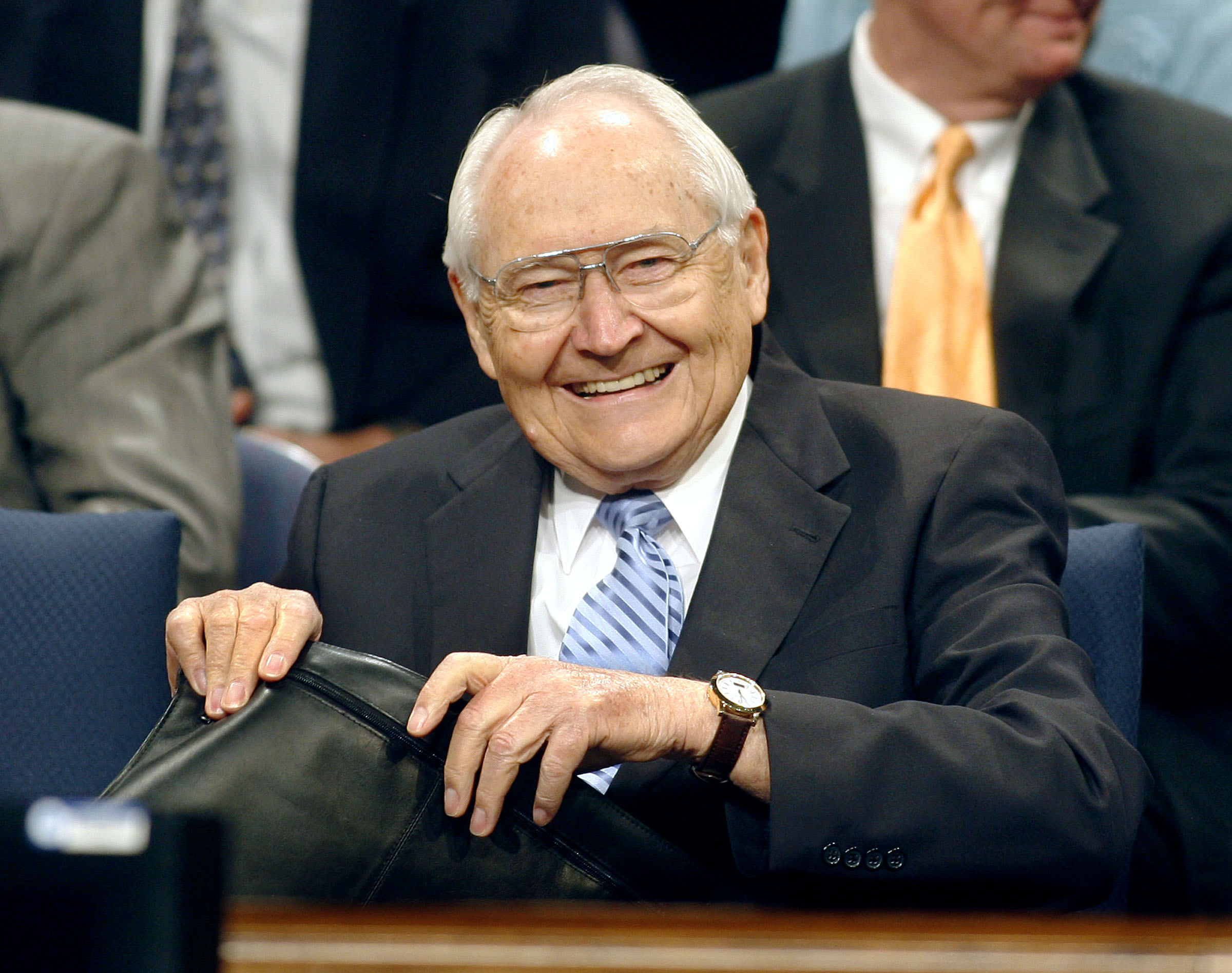 Elder L. Tom Perry smiles up on the stand prior to his speech at a BYU Devotional. Oct. 30, 2007 Photo by Stuart Johnson