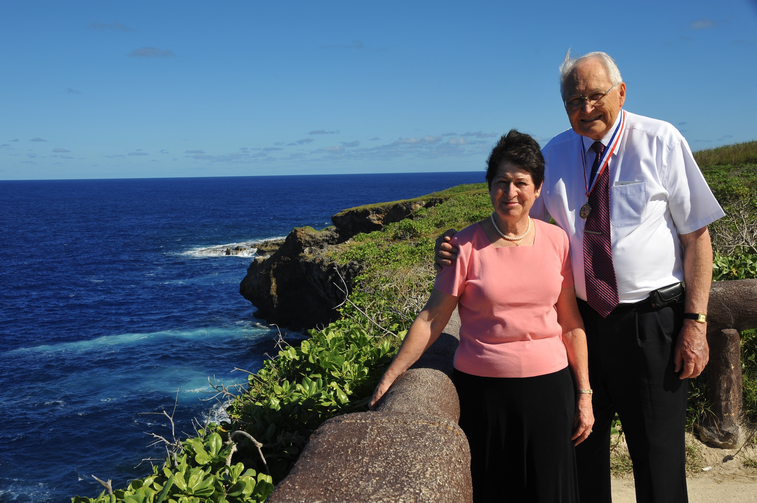 Elder L. Tom Perry and Sister Barbara Perry pause for a photo in Guam, where he created the first stake in January 2011.