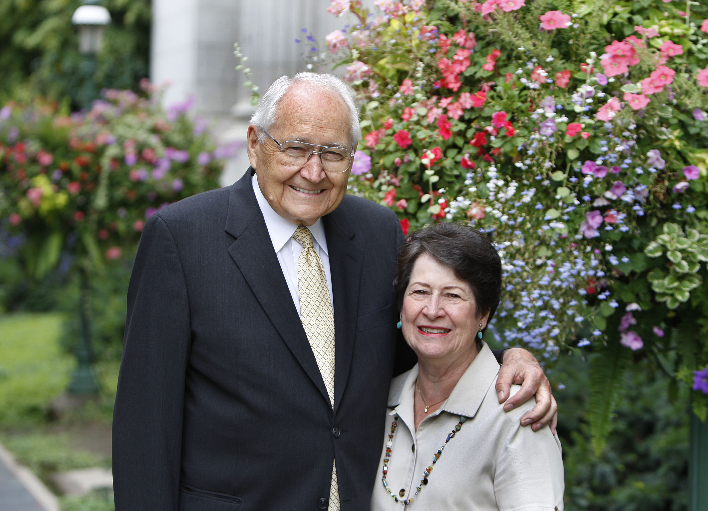 Elder L. Tom Perry and Sister Barbara Perry pause for a photo in 2012 in Salt Lake City, Utah.