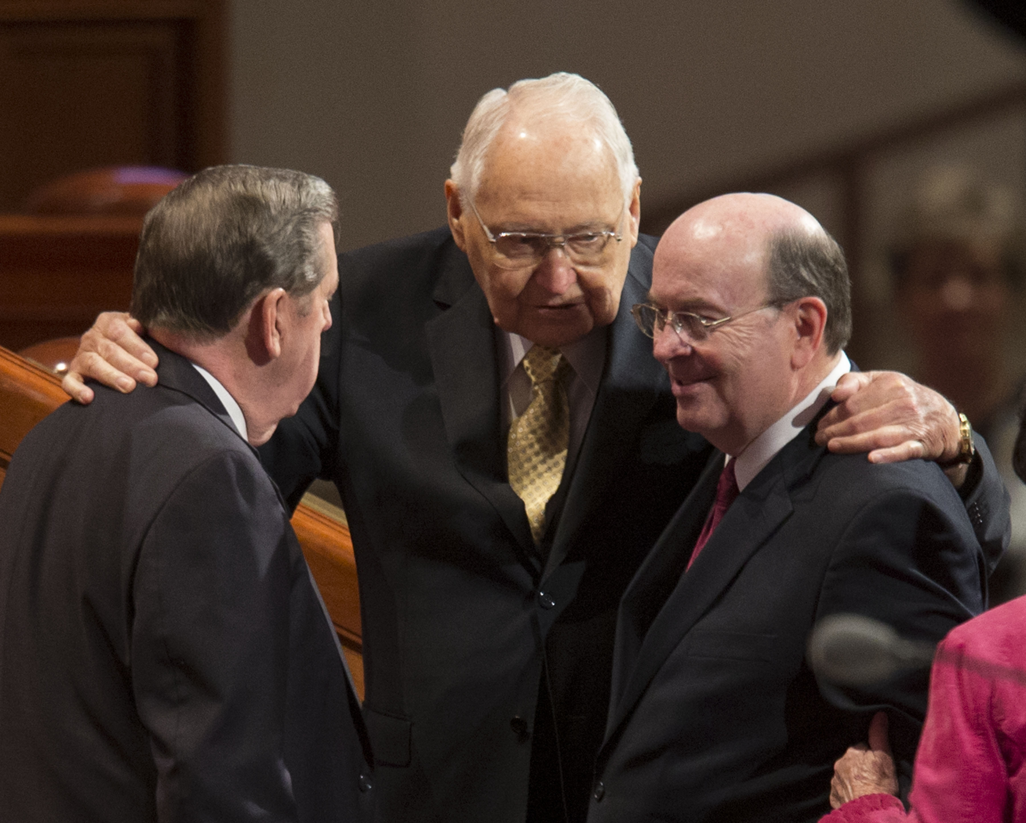 Elder L. Tom Perry, center, talks with Elder's Jeffrey R. Holland and Quentin L. Cook of the quorum of the twelve prior to the 184th Annual General Conference Saturday, April 5, 2014 at the Conference Center in Salt Lake City.