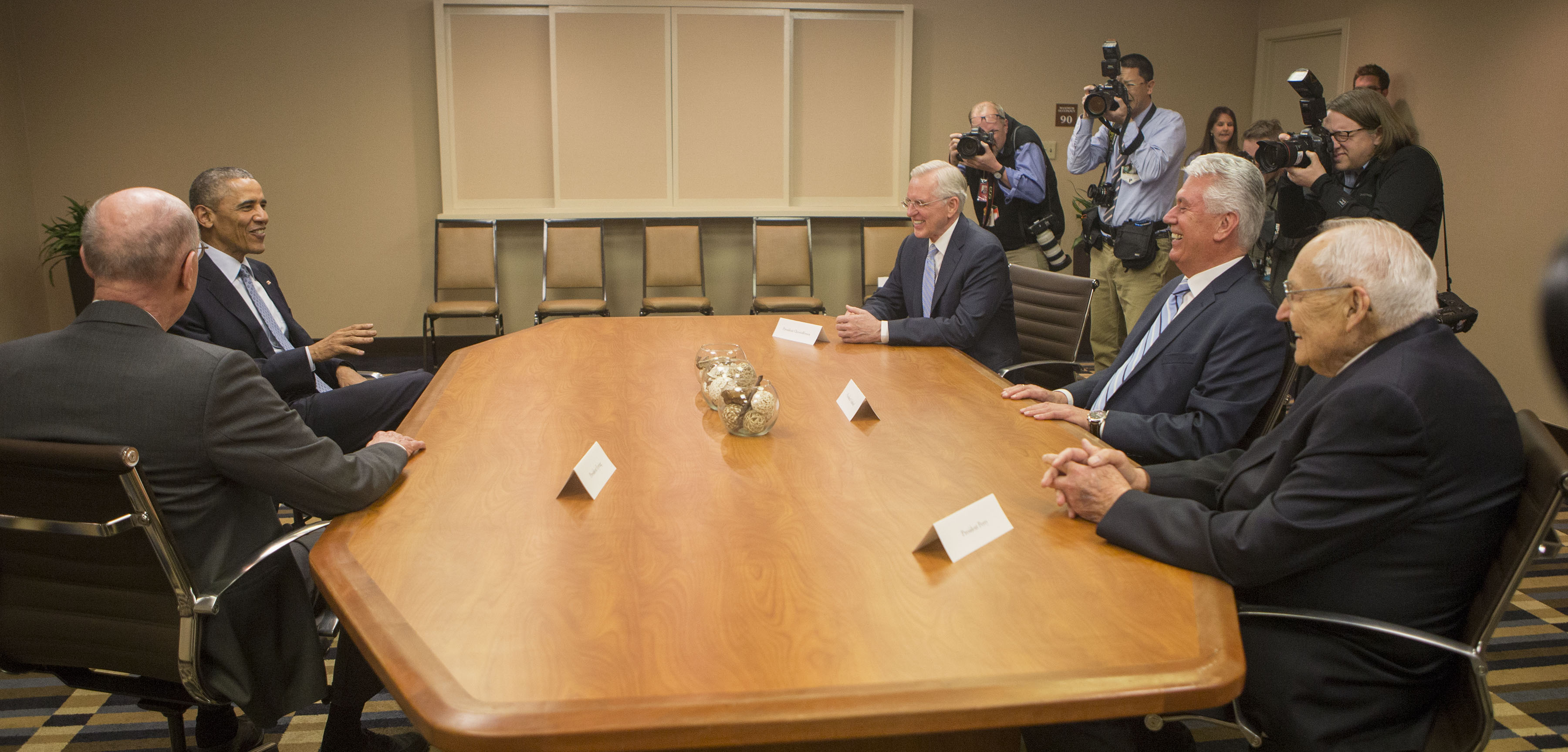President Barack Obama meets with LDS Leaders President Henry B. Eyring, Elder D. Todd Christofferson, President Dieter F. Uctdorf Elder L. Tom Perry after arriving at the Sheraton Hotel Thursday, April 2, 2015, in Salt Lake City Utah.