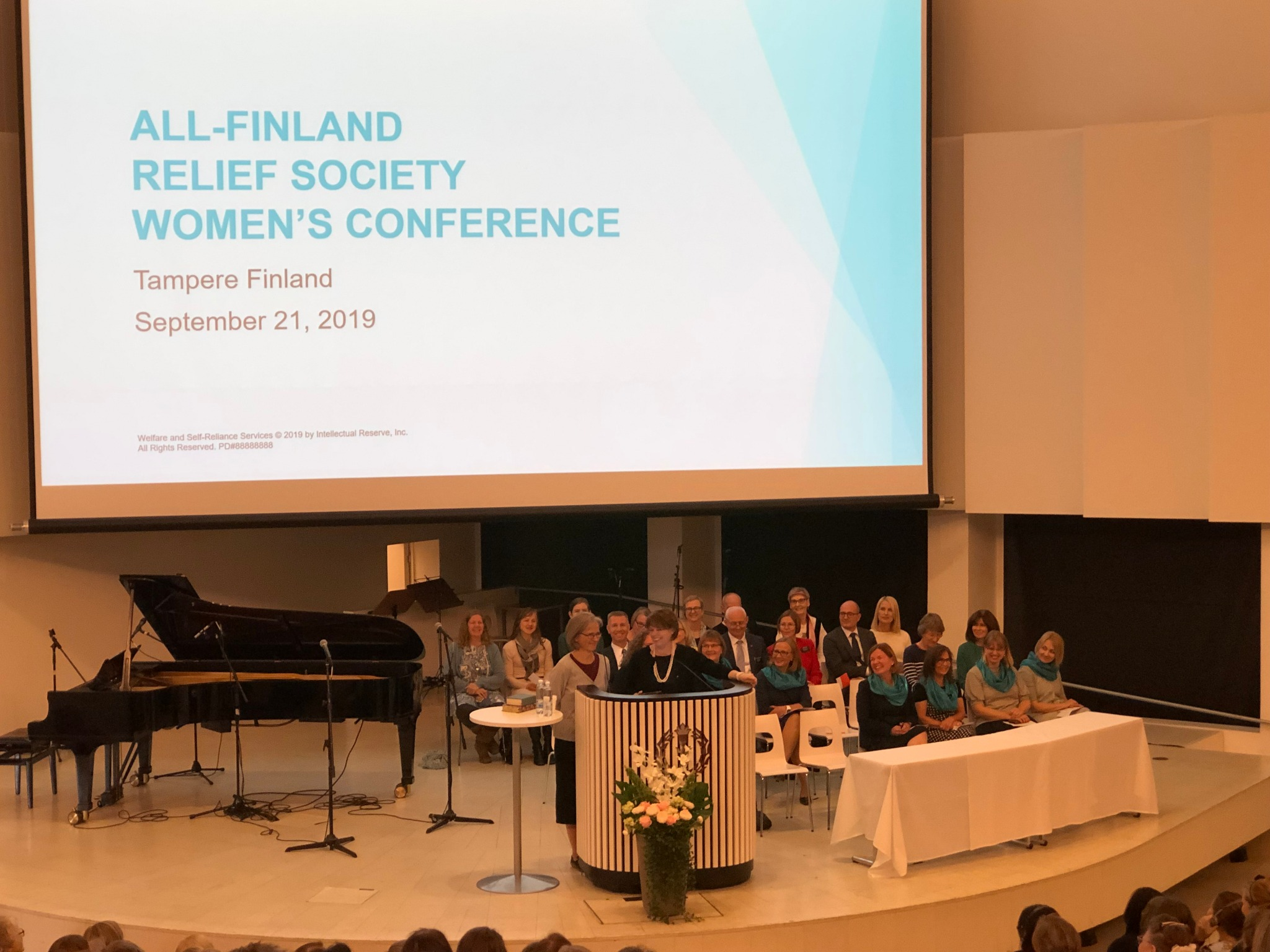Sister Sharon Eubank, president of Latter-day Saint Charities, gives a keynote address at a national women's conference in Tampere, Finland, Saturday, September 21, 2019.