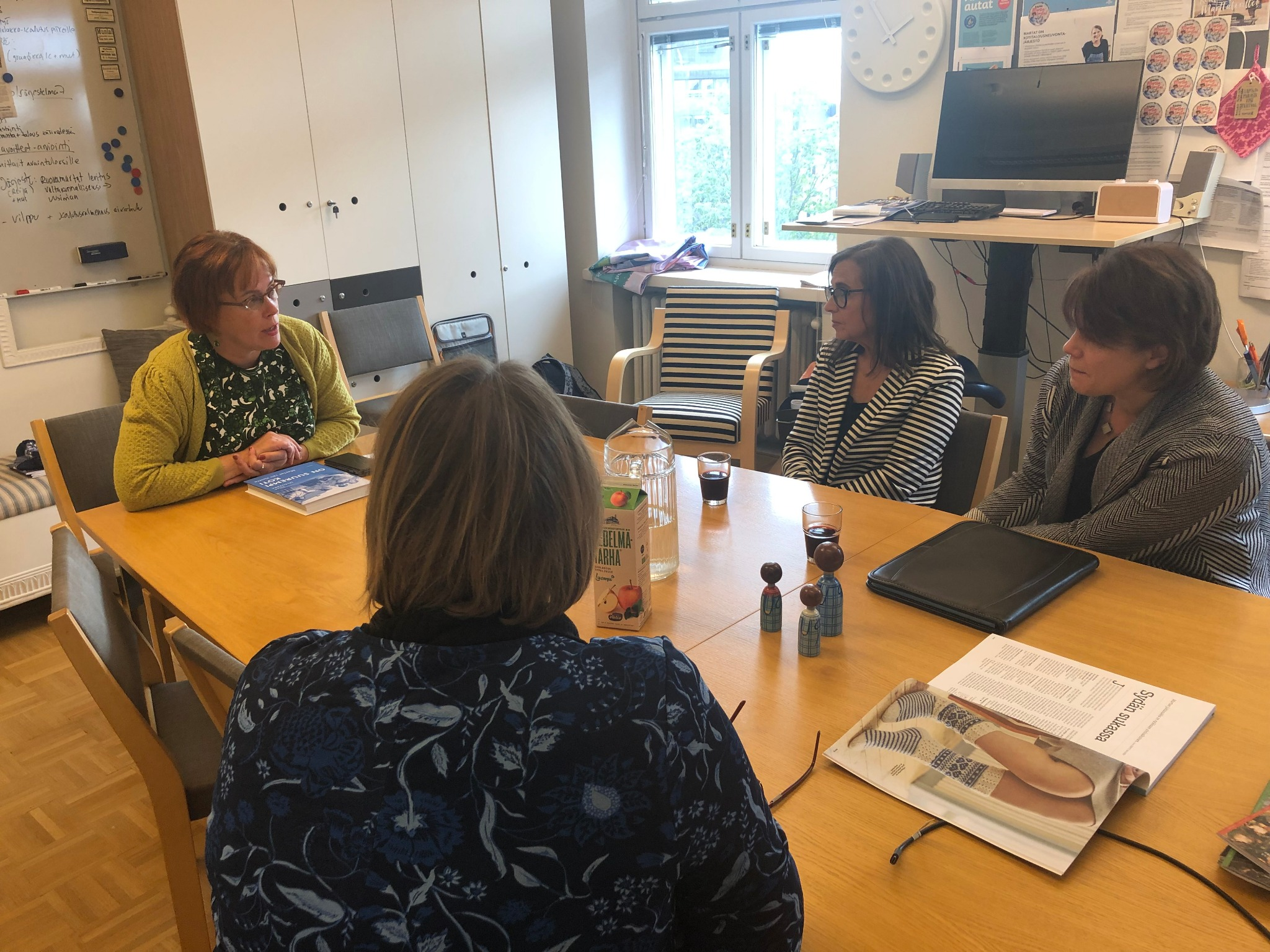 Sister Sharon Eubank, who oversees the Church's global humanitarian efforts, and local Relief Society presidents meet with Terhi Lindqvist of Martat (the Martha Association) in Helsinki, Finland, Friday, September 20, 2019.