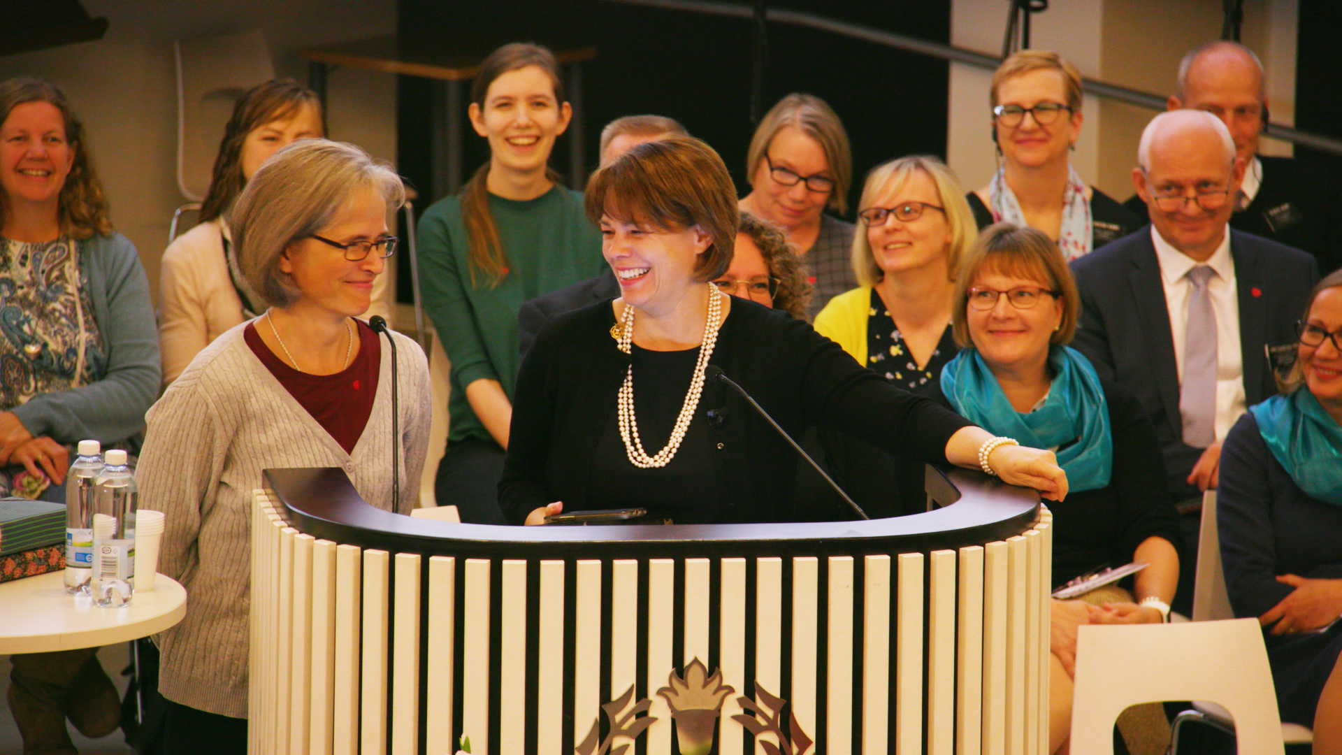 Sister Sharon Eubank of the Relief Society general presidency speaks in Finnish at a national women's conference in Tampere, Finland, Saturday, September 21, 2019.