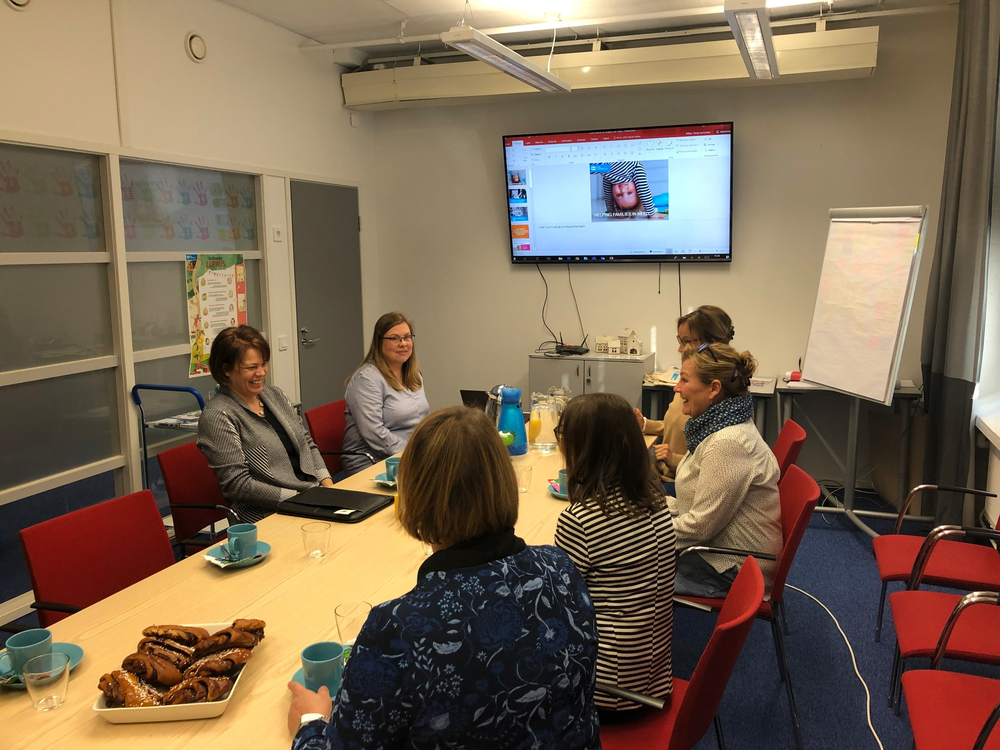Sister Sharon Eubank of the Relief Society general presidency and two local Relief Society presidents meet with representatives of SOS-Lapsikylä to explore partnership opportunities in Helsinki, Finland, Friday, September 20, 2019.