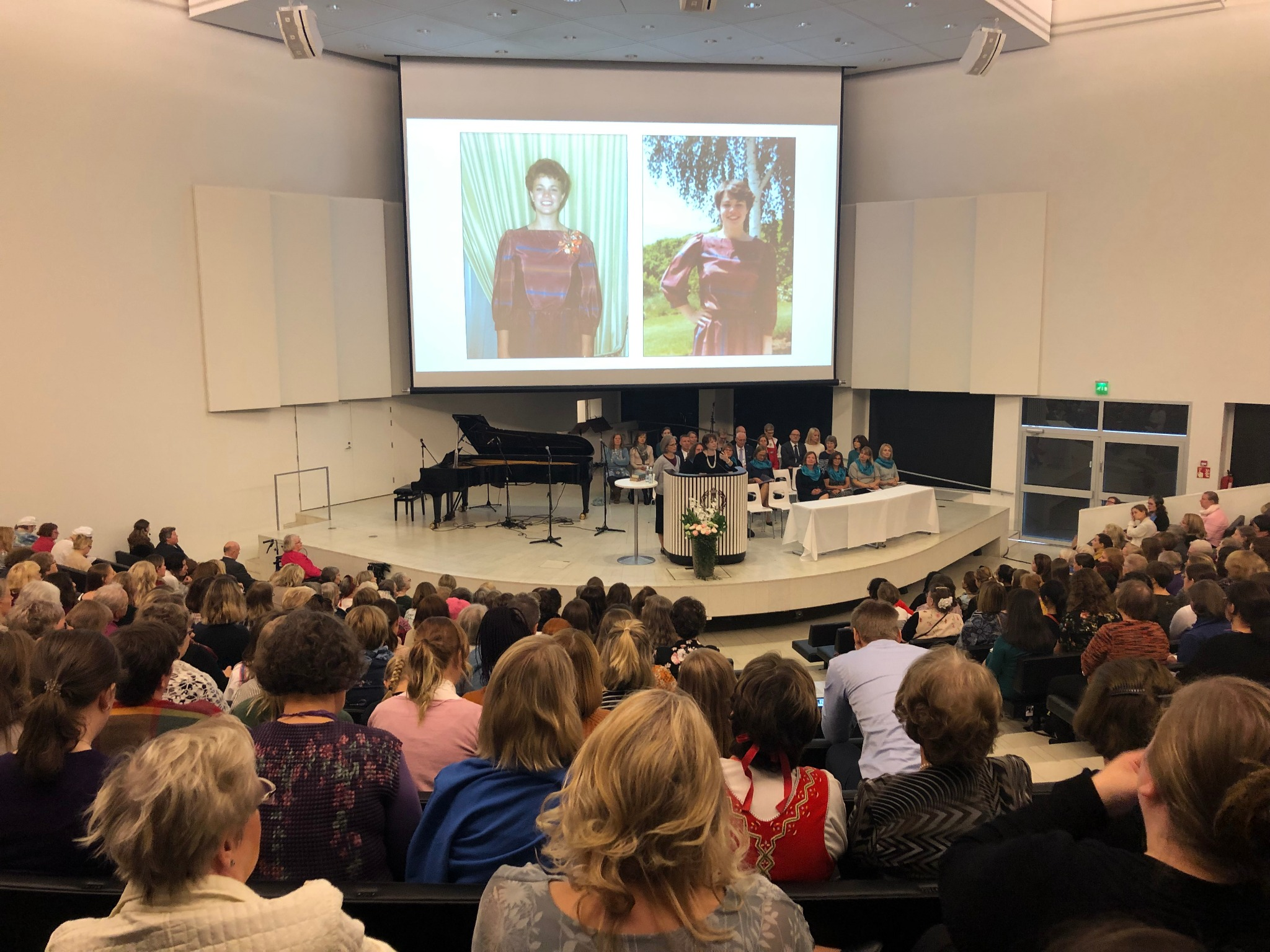 Sister Sharon Eubank shares mission photos with hundreds of attendees at a national women's conference in Tampere, Finland, Saturday, September 21, 2019. She delivered parts of her message in Finnish.