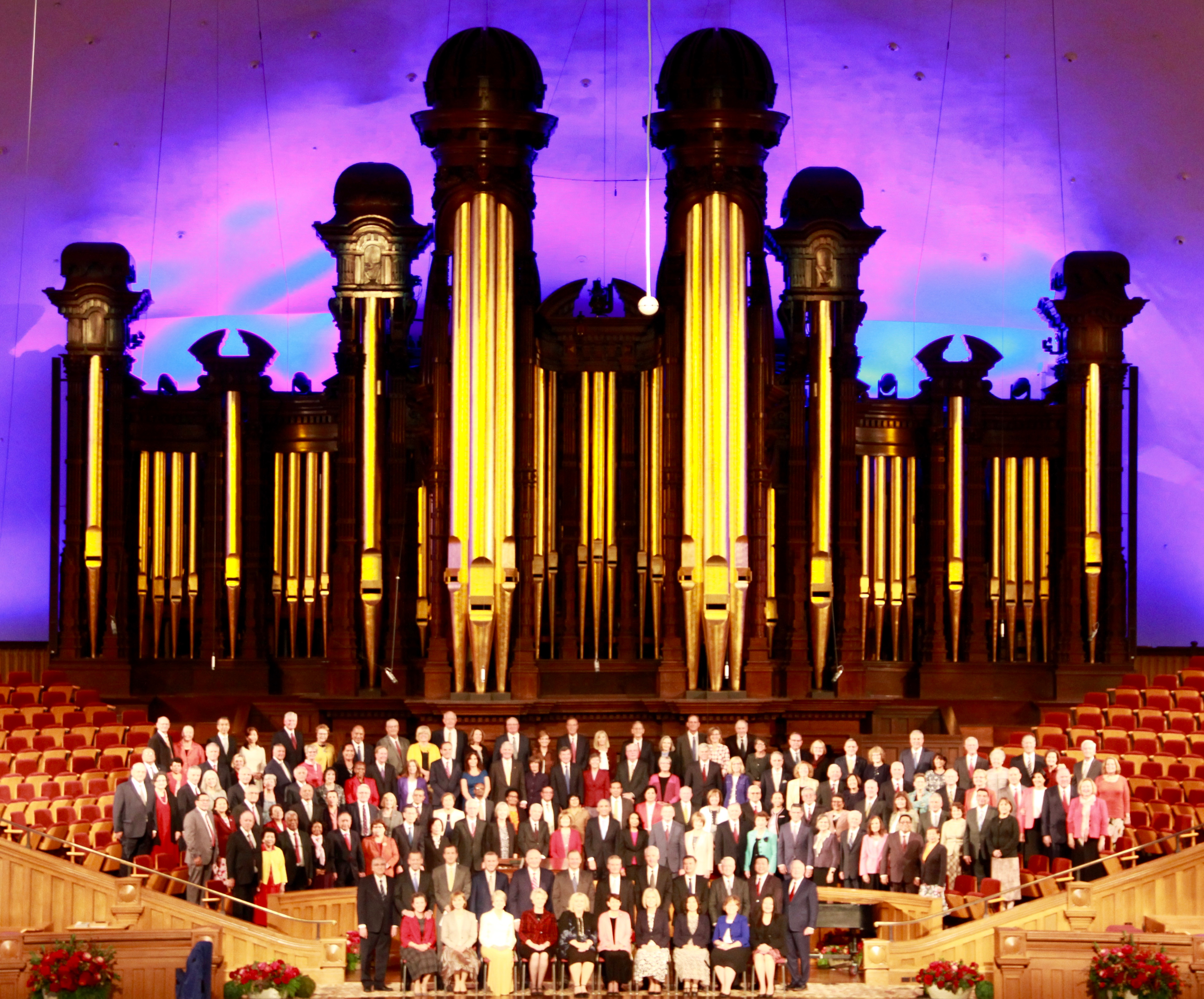 Church leaders — including general authorities and general officers — and their spouses join the 63 couples attending the 2019 Temple Leadership Seminar for a group photo at the Tabernacle on Temple Square on Tuesday, Oct. 15, 2019.