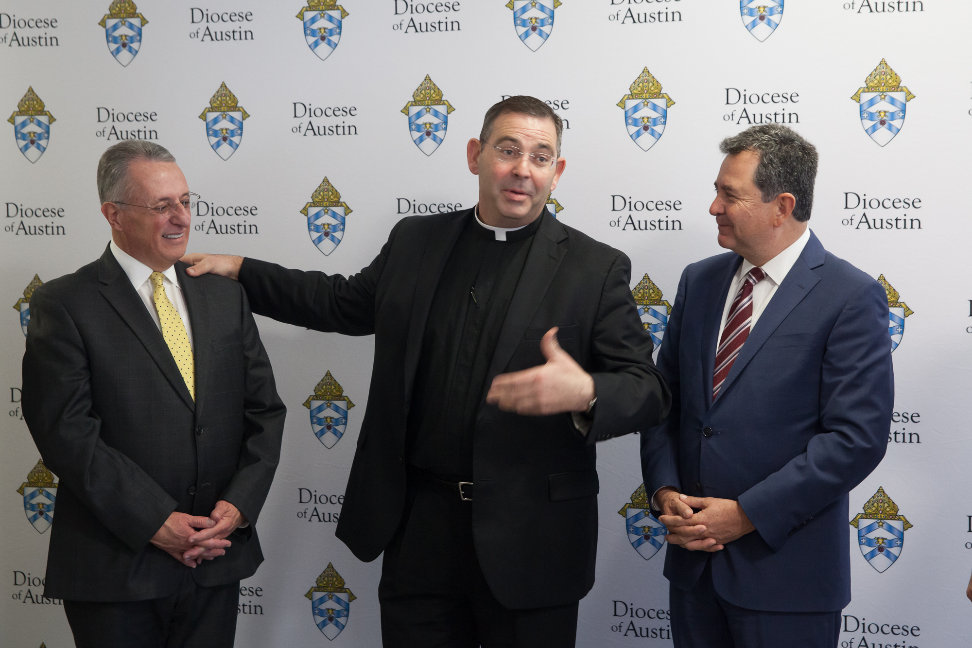 From left to right: Elder Ulisses Soares; Father James Misko, vicar general of the Diocese of Austin; and Elder Adrian Ochoa during a visit at the Diocese of Austin on Oct. 18, 2019.