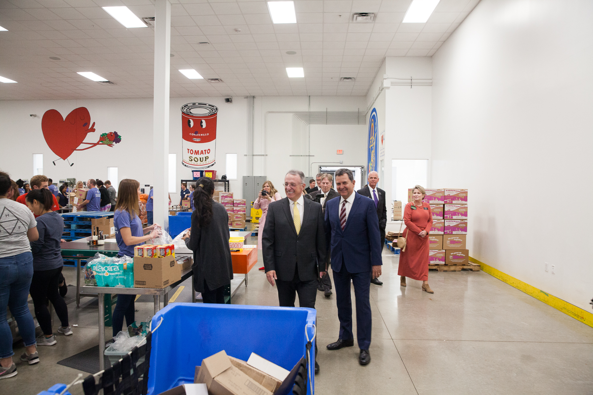 Elder Ulisses Soares, left, and Elder Adrian Ochoa during a tour of the Central Texas Food Bank during a visit to their facilities on Oct. 18, 2019.