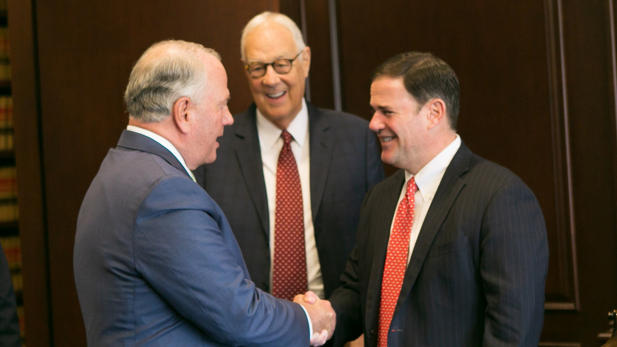 Elder Ronald A. Rasband of the Quorum of the Twelve Apostles meets with Arizona Governor Doug Ducey on Friday, October 18, 2019.