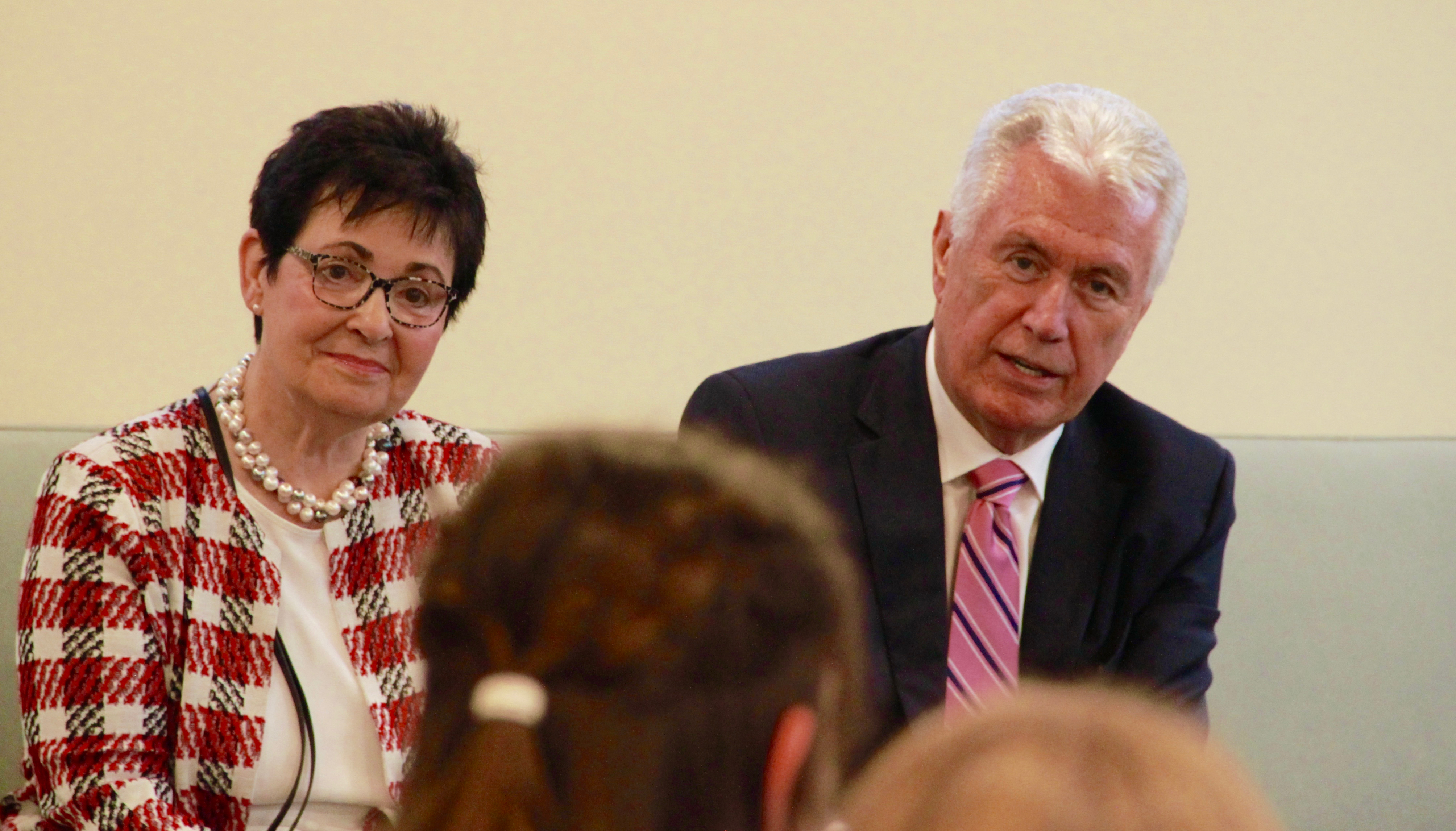 Elder Dieter F. Uchtdorf and Sister Harriet Uchtdorf engage a group of youth in a meeting prior to a devotional Saturday, Oct. 19, 2019, in Friedrichsdorf, Germany.