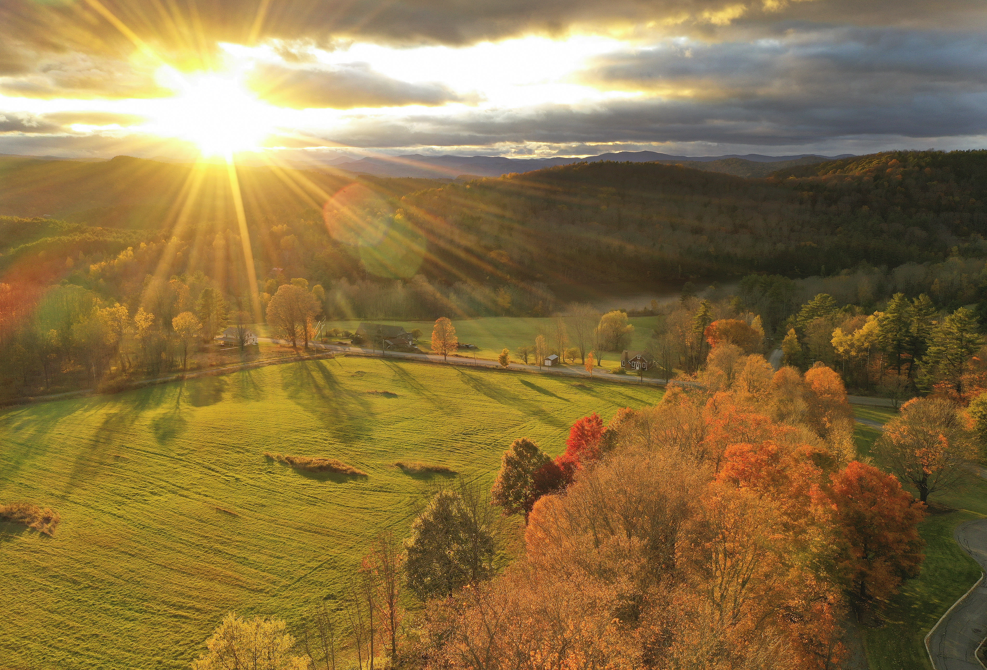 The sun sets at the Joseph Smith Birthplace Memorial in Sharon, Vt., on Oct. 18, 2019.