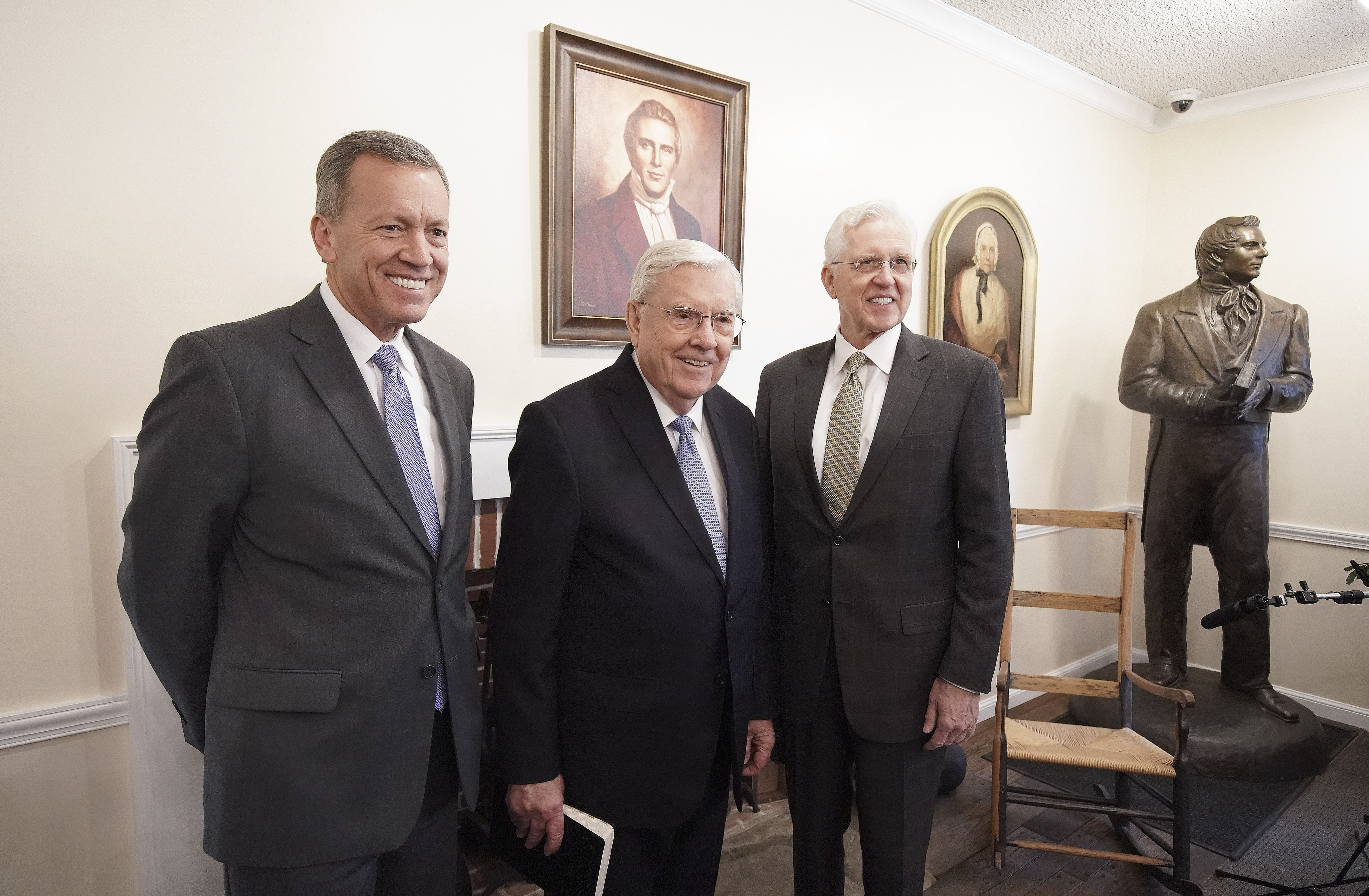 Elder Randall Bennett, President M. Russell Ballard, acting president of the Quorum of the Twelve Apostles of The Church of Jesus Christ of Latter-day Saints, and Elder D. Todd Christofferson of the Quorum of the Twelve Apostles smile prior to a missionary meeting at the Joseph Smith Birthplace Memorial in Sharon, Vt., on Saturday, Oct. 19, 2019.