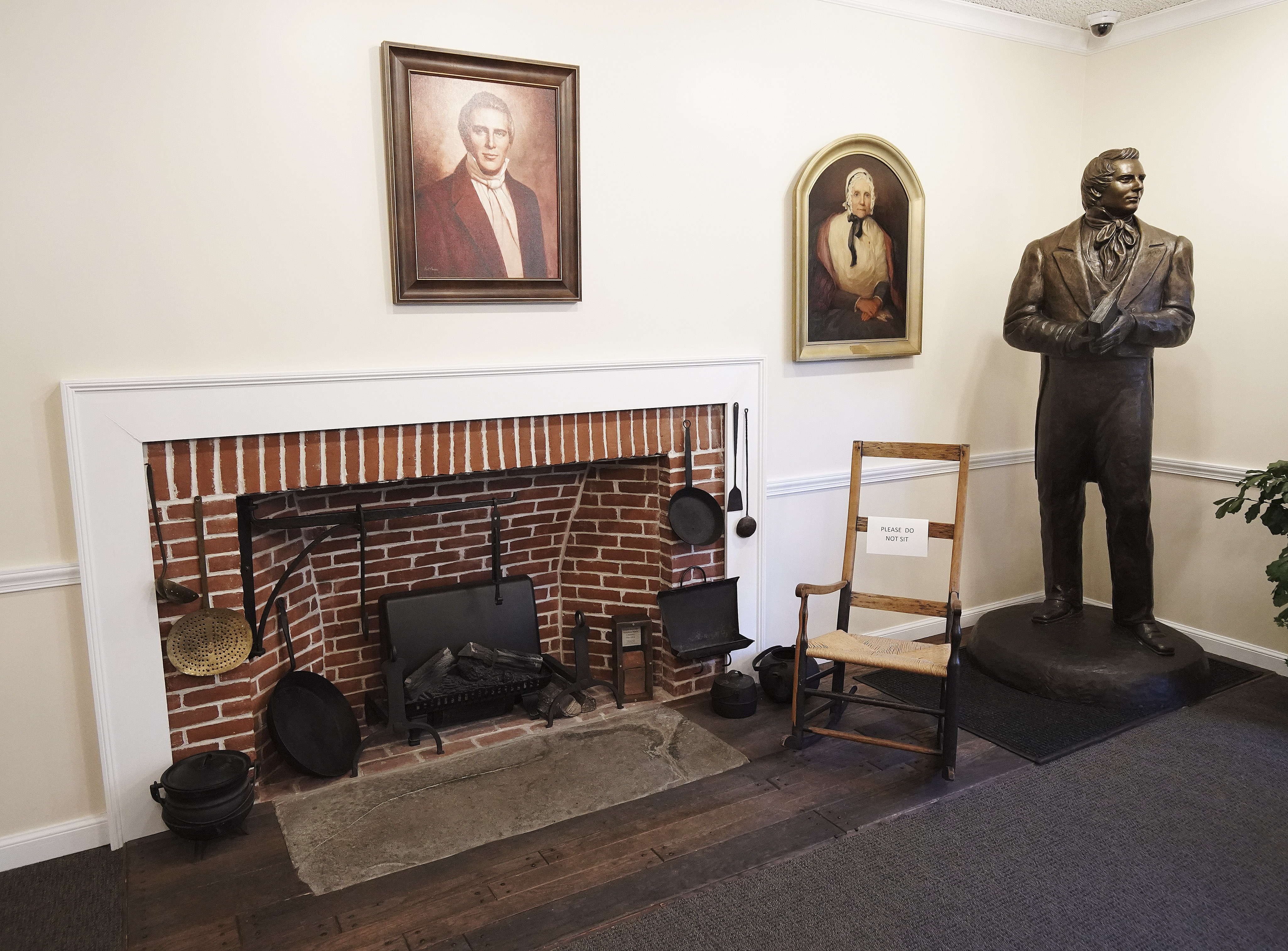 Displayed items in the visitors center at the Joseph Smith Birthplace Memorial in Sharon, Vt., on Saturday, Oct. 19, 2019.