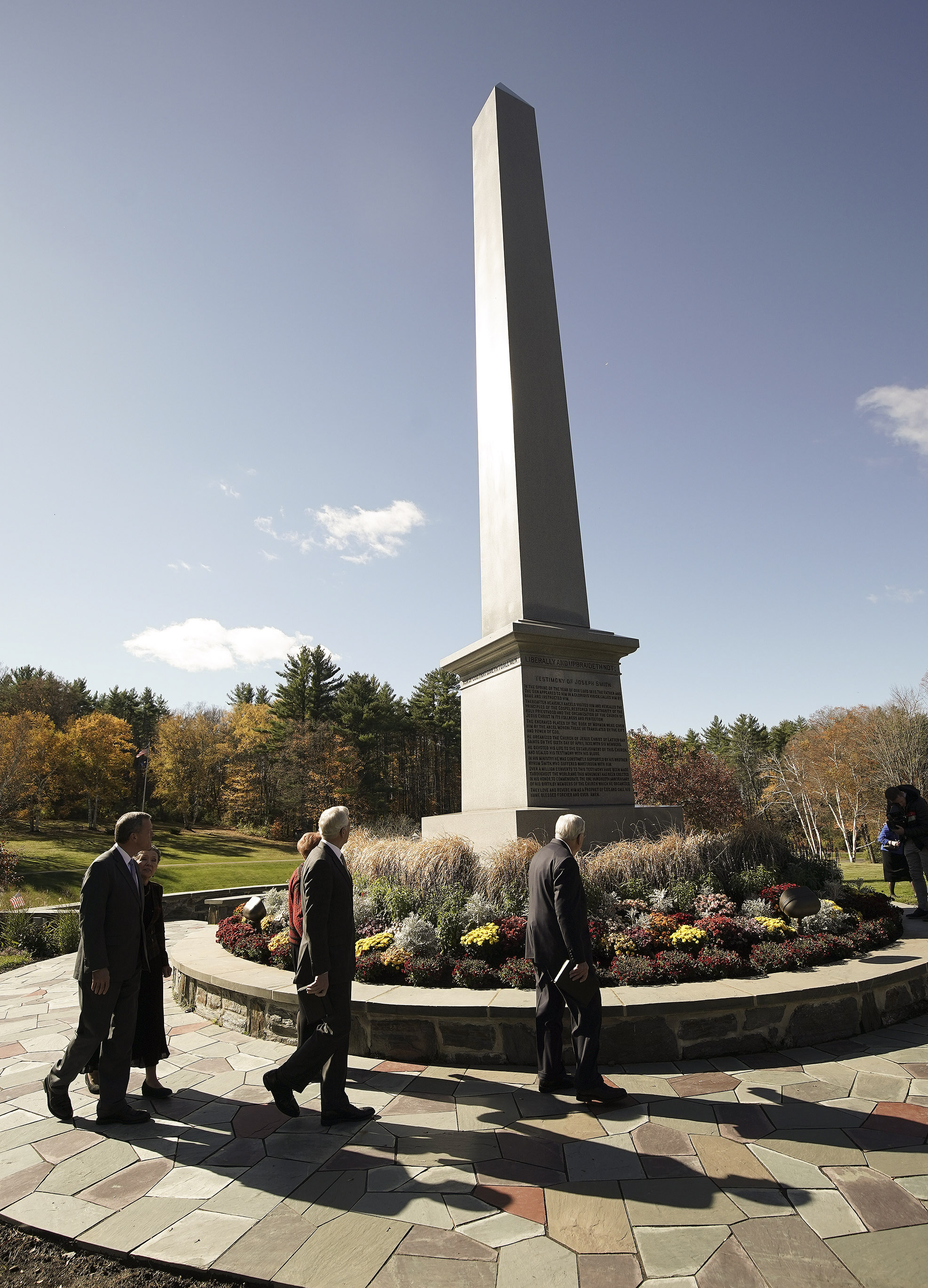 Elder Randall Bennett, Elder D. Todd Christofferson of The Church of Jesus Christ of Latter-day Saints' Quorum of the Twelve Apostles, and President M. Russell Ballard, acting president of the Quorum of the Twelve Apostles, walk around the Joseph Smith Birthplace Memorial in Sharon, Vt., on Saturday, Oct. 19, 2019.