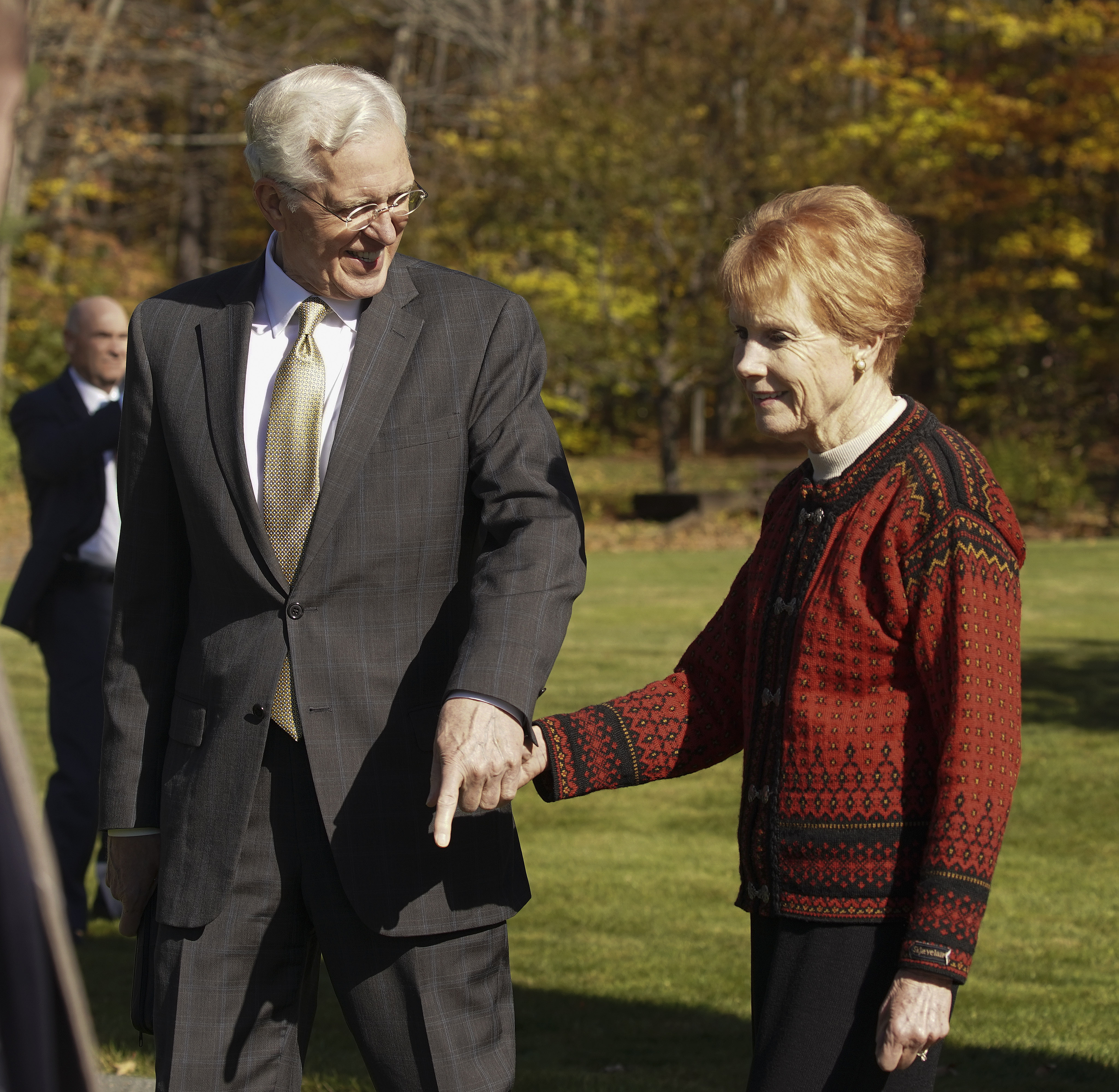 Elder D. Todd Christofferson of the Quorum of the Twelve Apostles of The Church of Jesus Christ of Latter-day Saints, holds hands with his wife, Sister Kathy Christofferson, at the Joseph Smith Birthplace Memorial in Sharon, Vt., on Saturday, Oct. 19, 2019.