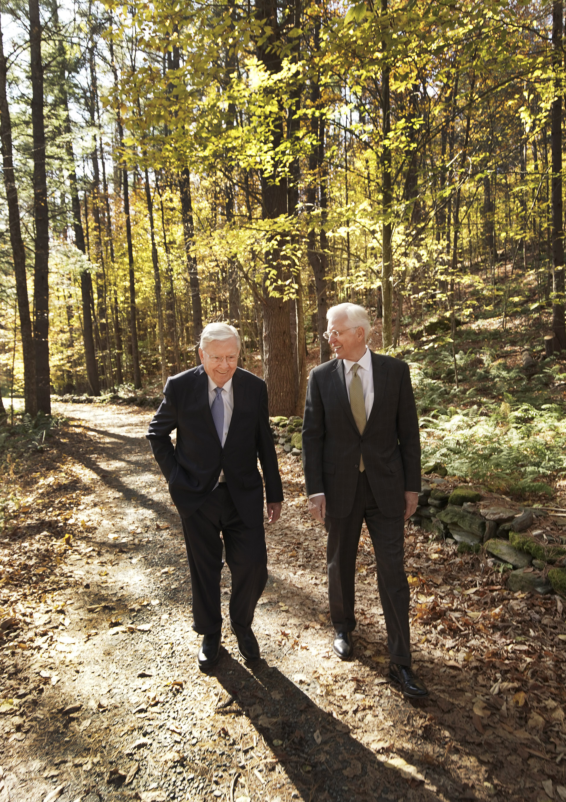President M. Russell Ballard, acting president of the Quorum of the Twelve Apostles of The Church of Jesus Christ of Latter-day Saints, and Elder D. Todd Christofferson of the Quorum of the Twelve Apostles walk at the Joseph Smith Birthplace Memorial in Sharon, Vt., on Saturday, Oct. 19, 2019.