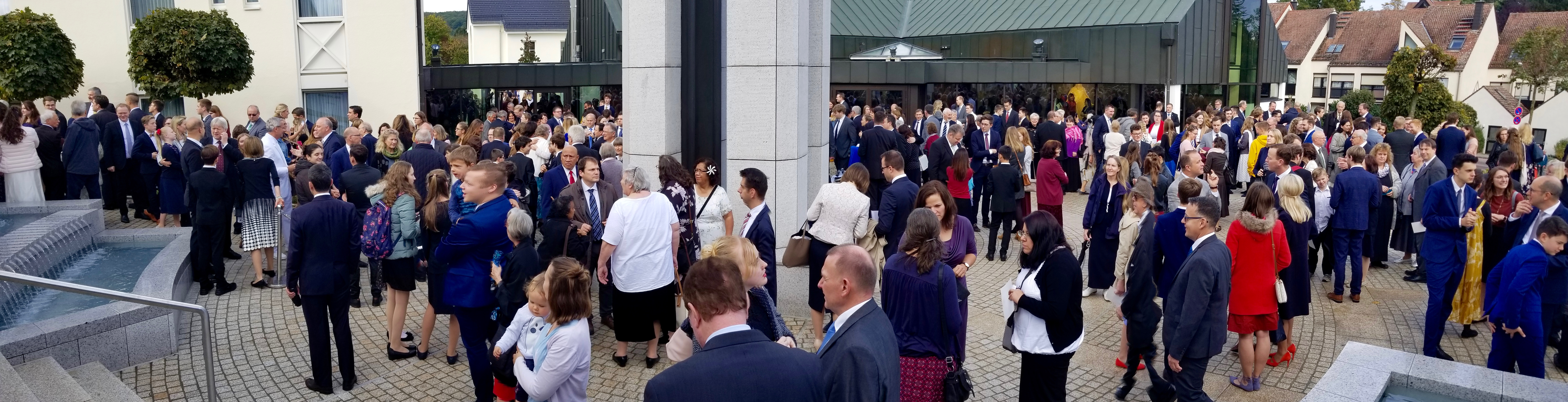 A panoramic view of the crowded plaza at the entrance of the Frankfurt Germany Temple between rededication sessions on Sunday, Oct. 20, 2019.