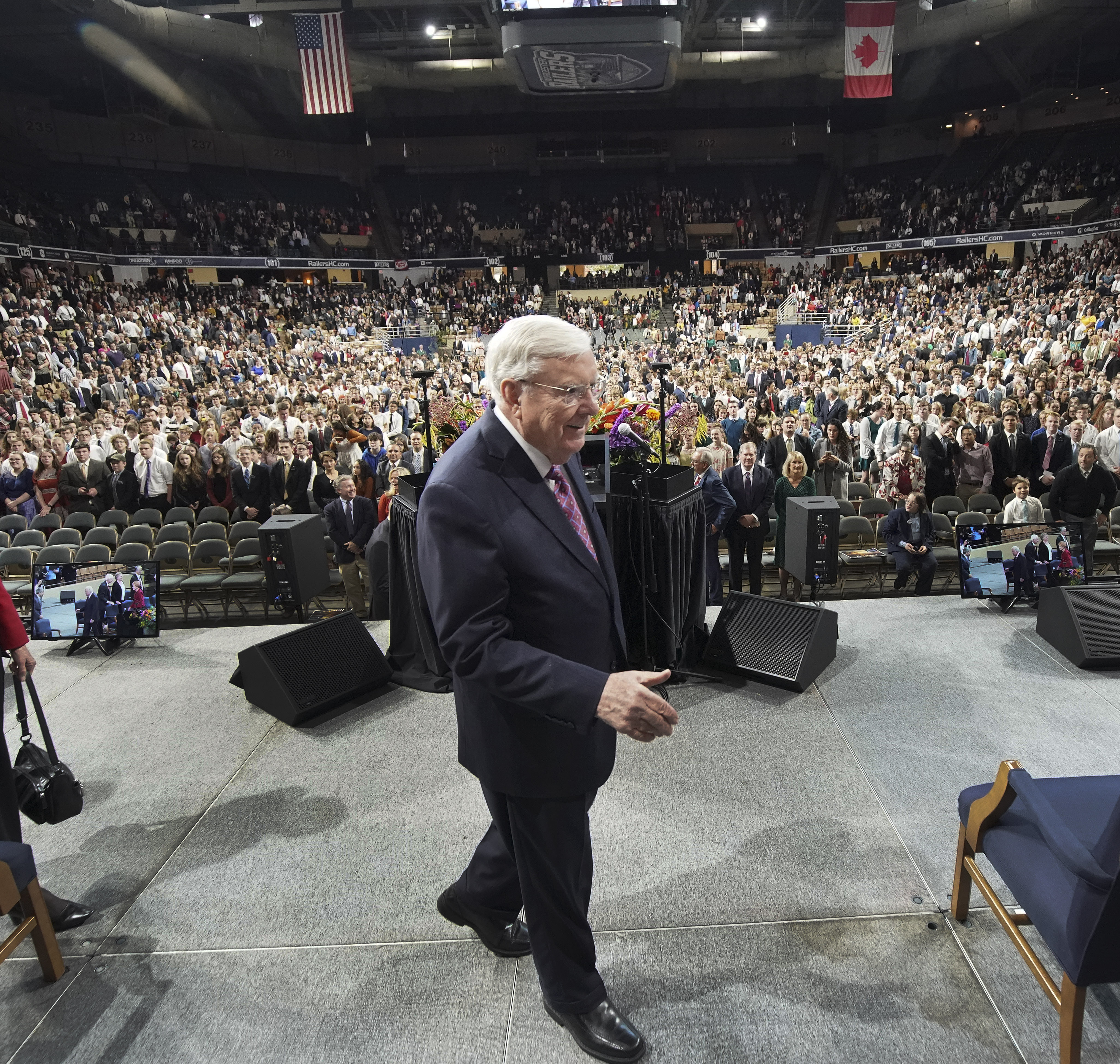 President M. Russell Ballard, acting president of the Quorum of the Twelve Apostles of The Church of Jesus Christ of Latter-day Saints, arrives at a devotional in Worcester, Massachusetts, on Sunday, Oct. 20, 2019.