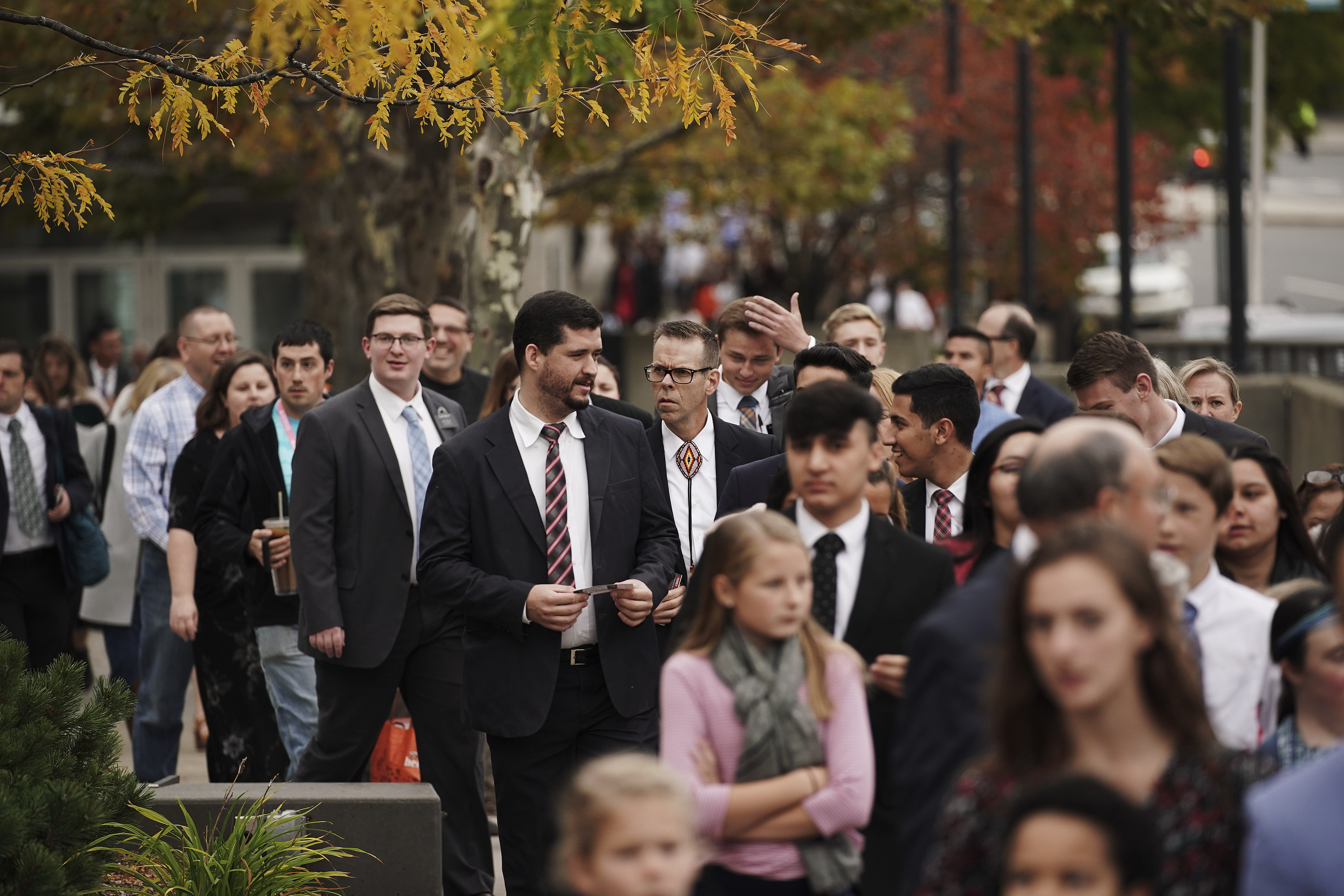 Attendees arrive to hear President M. Russell Ballard, acting president of the Quorum of the Twelve Apostles of The Church of Jesus Christ of Latter-day Saints, during a devotional in Worcester, Massachusetts, on Sunday, Oct. 20, 2019.