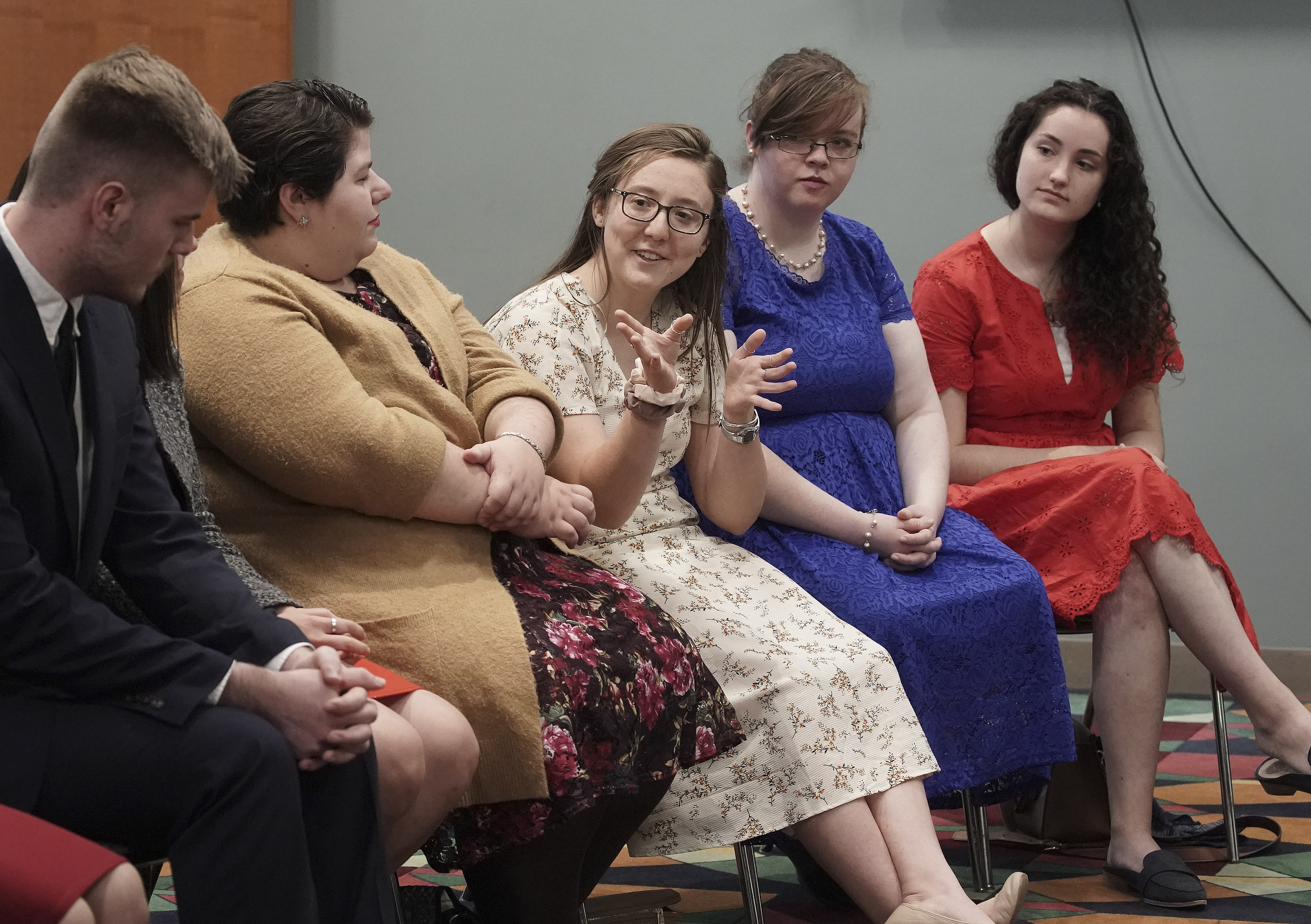 Annie Pollock and other youth meet with President M. Russell Ballard, acting president of the Quorum of the Twelve Apostles of The Church of Jesus Christ of Latter-day Saints, in Worcester, Massachusetts, on Sunday, Oct. 20, 2019.