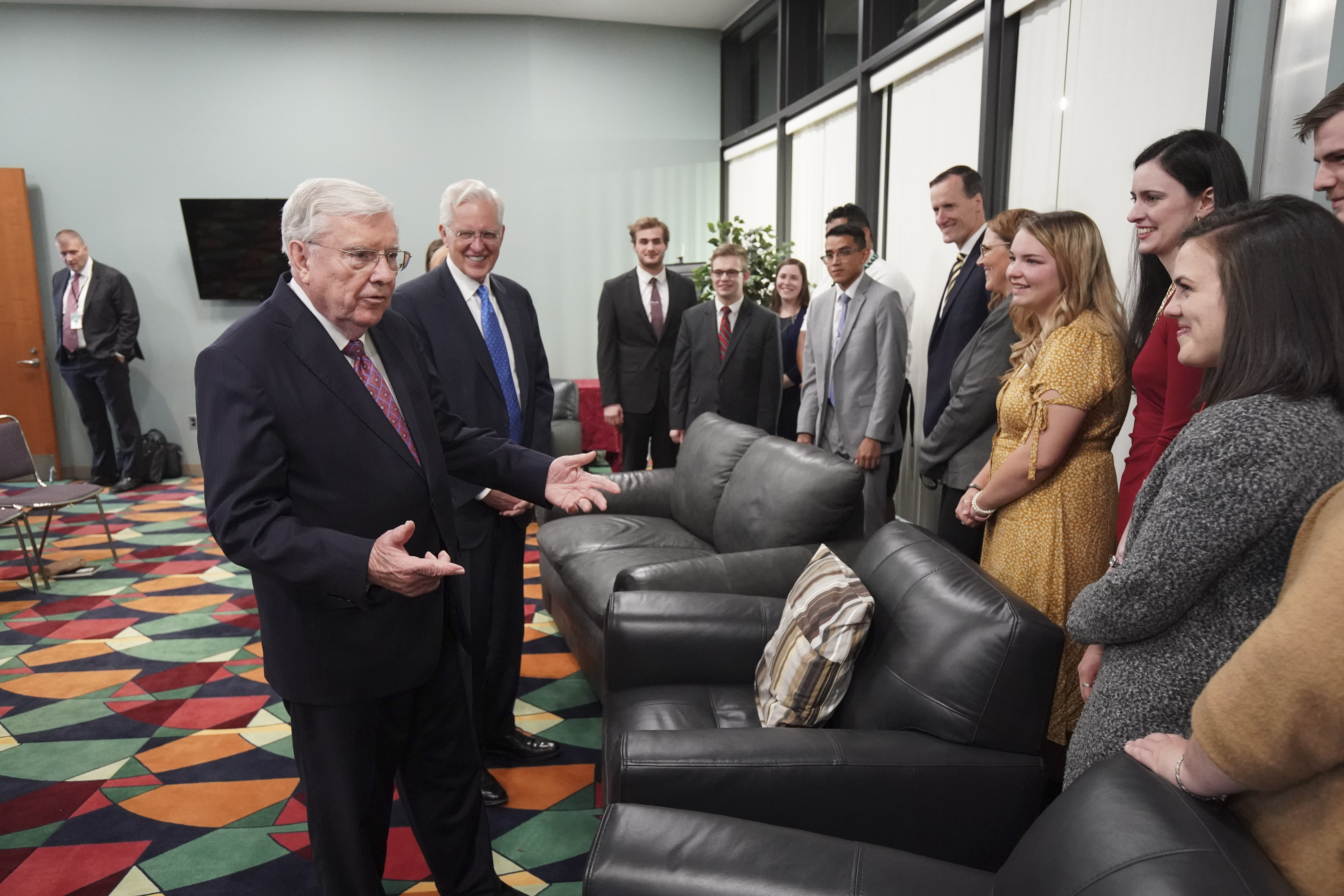 President M. Russell Ballard, acting president of the Quorum of the Twelve Apostles of The Church of Jesus Christ of Latter-day Saints, and Elder D. Todd Christofferson, of the Quorum of the Twelve Apostles, meet with youth in Worcester, Massachusetts, on Sunday, Oct. 20, 2019.