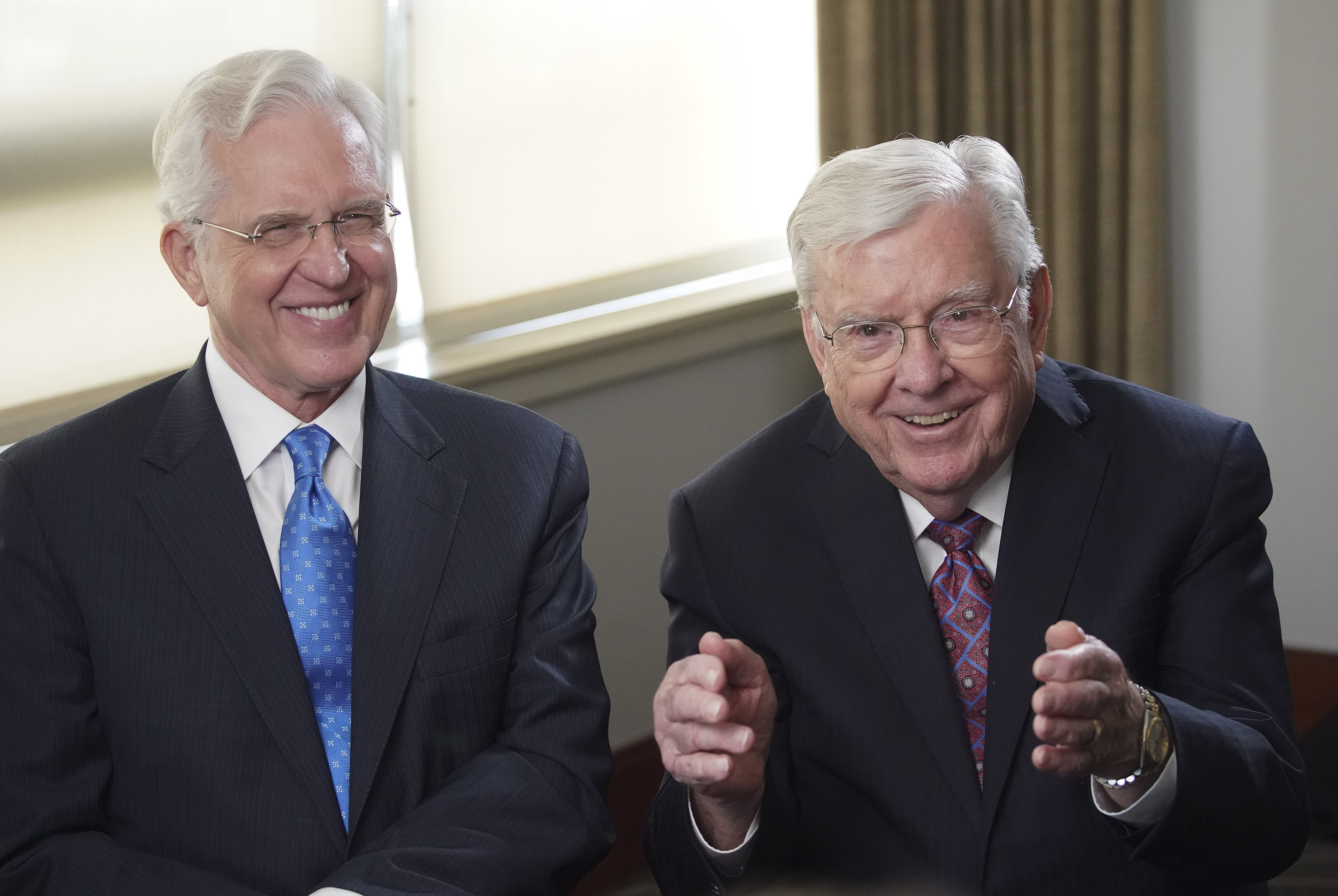 President M. Russell Ballard, acting president of the Quorum of the Twelve Apostles of The Church of Jesus Christ of Latter-day Saints, and Elder D. Todd Christofferson, of the Quorum of the Twelve Apostles, have some fun during an interview in Boston on Sunday, Oct. 20, 2019.