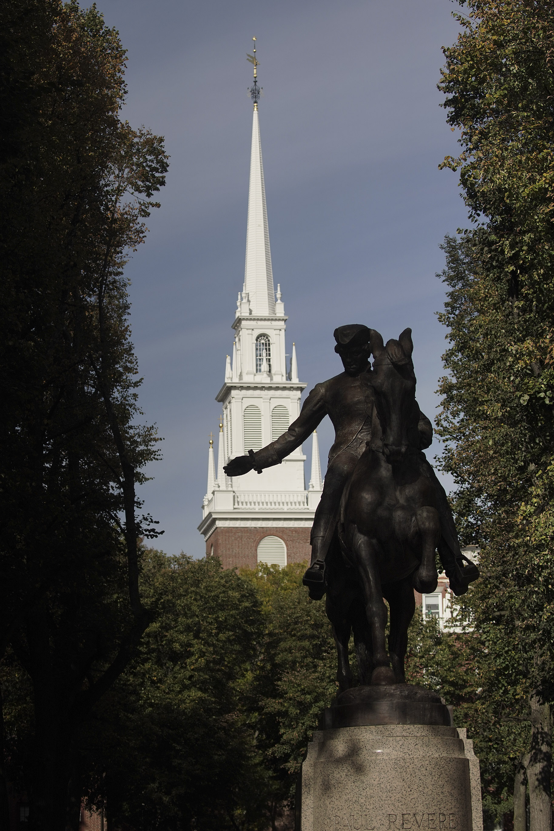 Old North Church and Paul Revere statue in Boston on Sunday, Oct. 20, 2019.