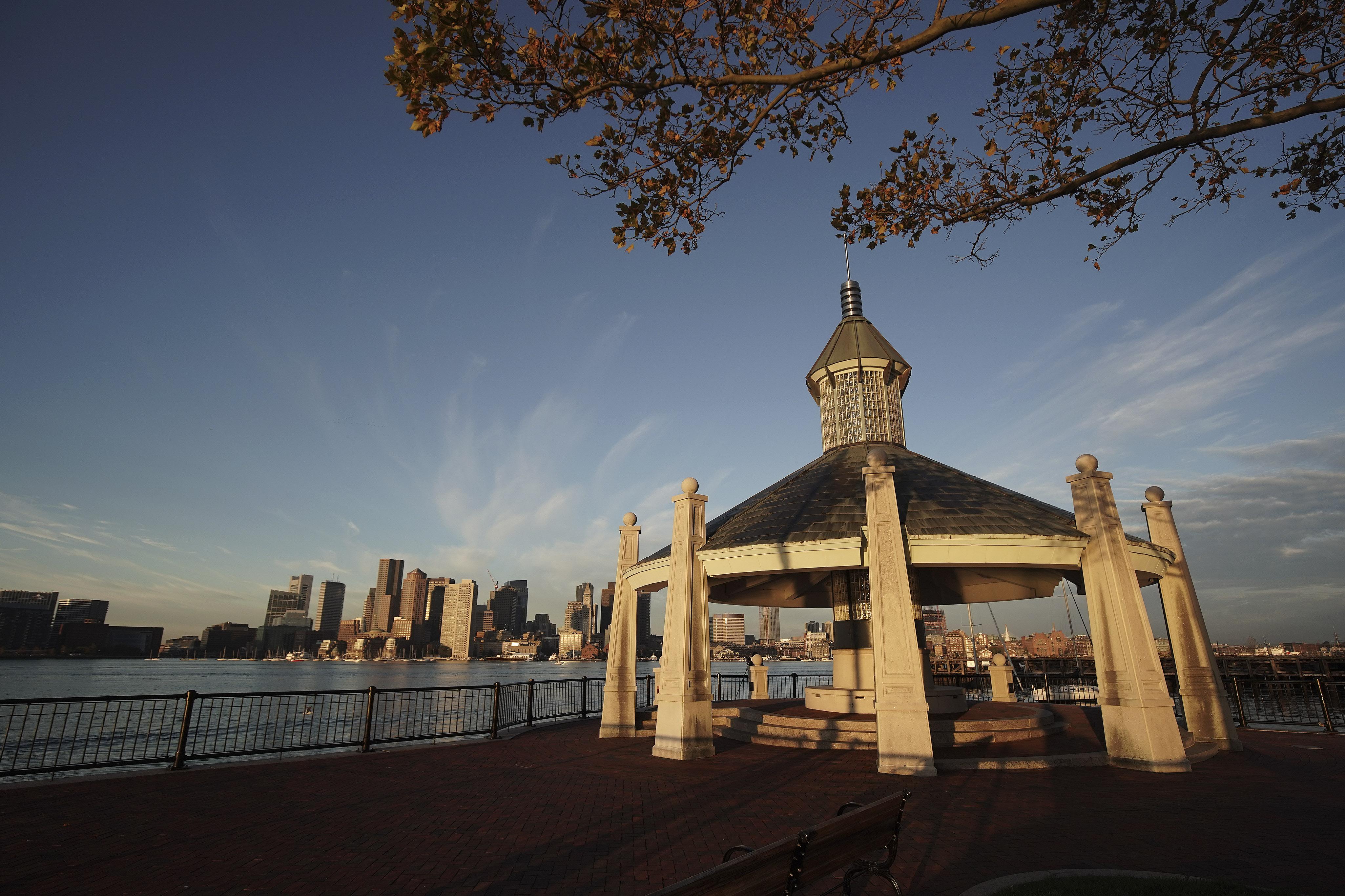 The sun rises on Jeffries Point in Boston on Sunday, Oct. 20, 2019.