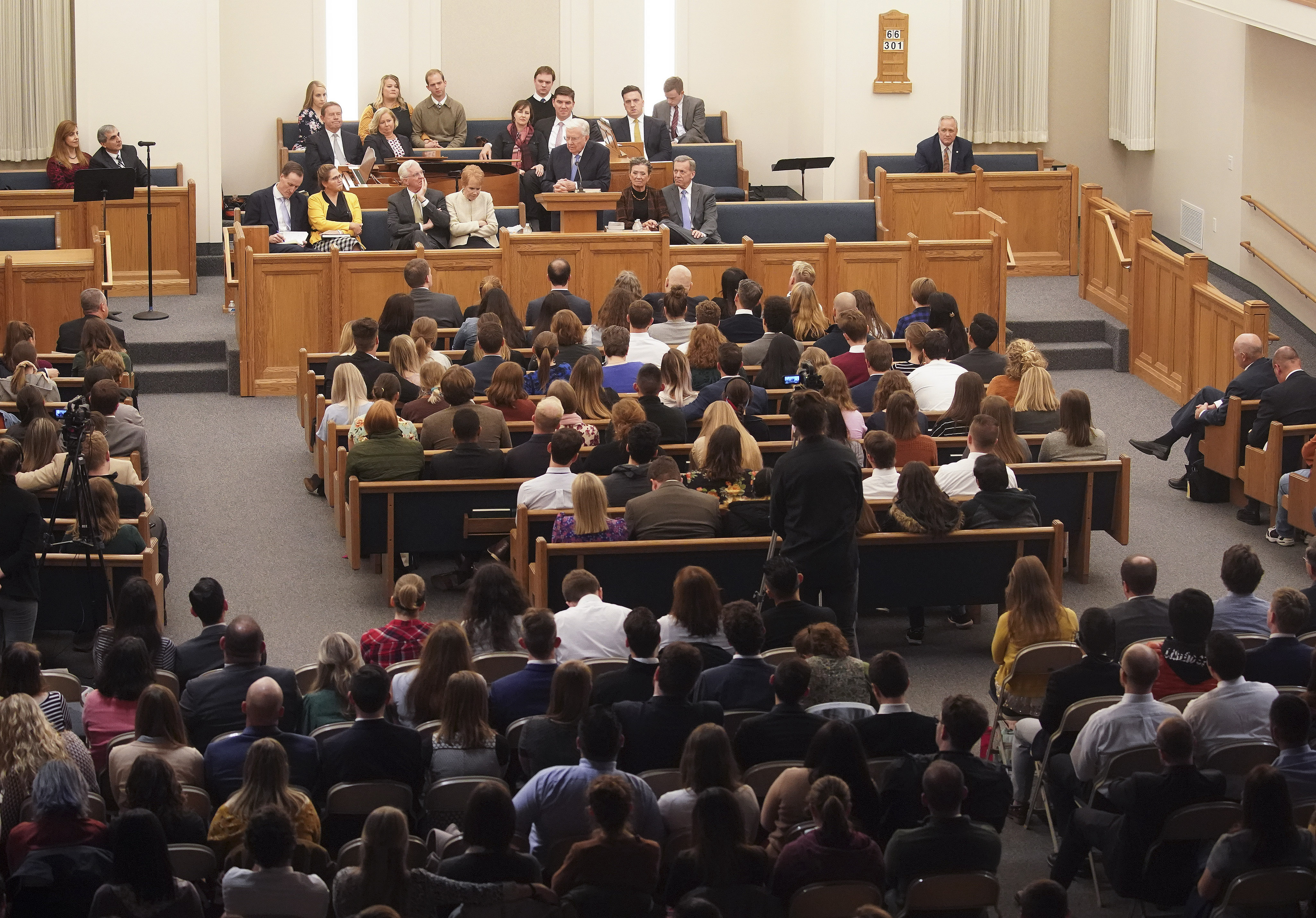 President M. Russell Ballard, acting president of the Quorum of the Twelve Apostles of The Church of Jesus Christ of Latter-day Saints, speaks in Boston on Saturday, Oct. 19, 2019.