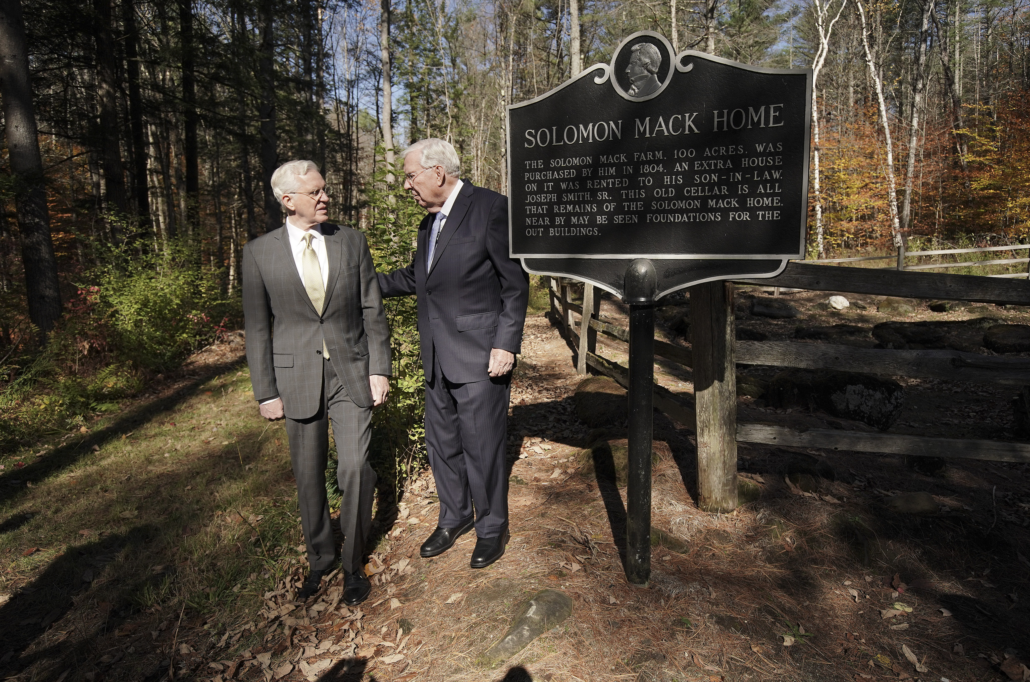 President M. Russell Ballard, acting president of the Quorum of the Twelve Apostles of The Church of Jesus Christ of Latter-day Saints, right, and Elder D. Todd Christofferson of the Quorum of the Twelve Apostles look over the Solomon Mack home at the Joseph Smith Birthplace Memorial in Sharon, Vt., on Saturday, Oct. 19, 2019.