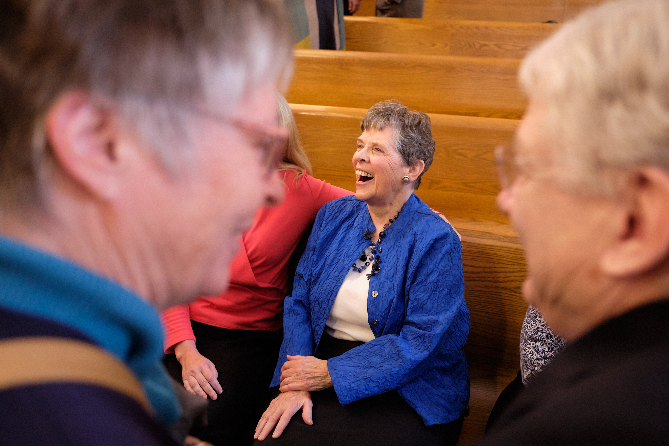 Retiring Temple Square organist Bonnie Goodliffe visits with family and friends after a recital at the Salt Lake Tabernacle on Monday, Oct. 21, 2019.