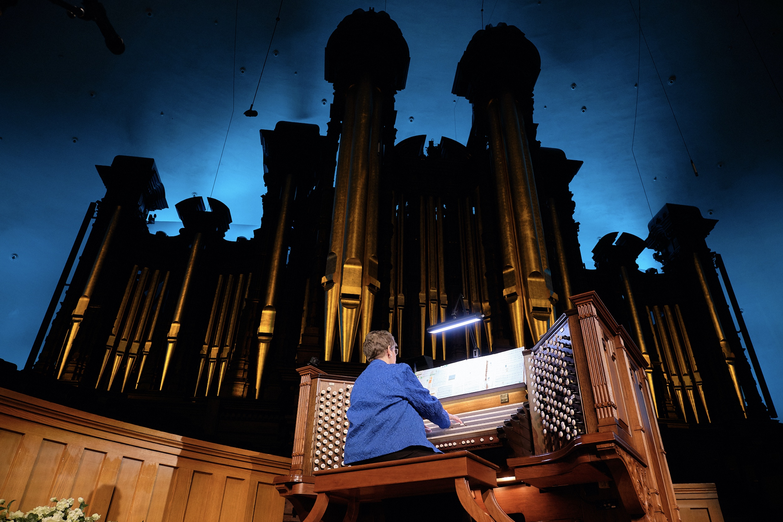 Retiring Temple Square organist Bonnie Goodliffe performs a recital piece at the Salt Lake Tabernacle on Monday, Oct. 21, 2019.