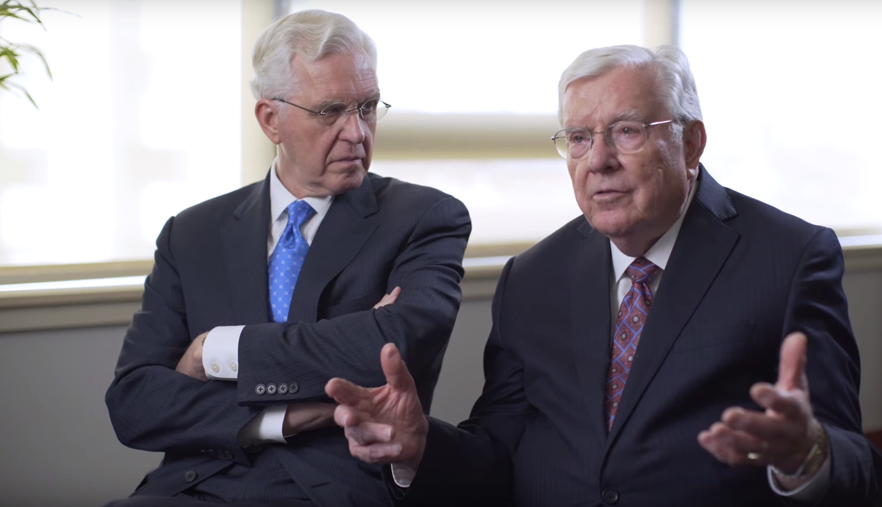 Elder D. Todd Christofferson, left, and President M. Russell Ballard, right, during an interview where President Ballard talks about his grandfather, Elder Melvin J. Ballard.