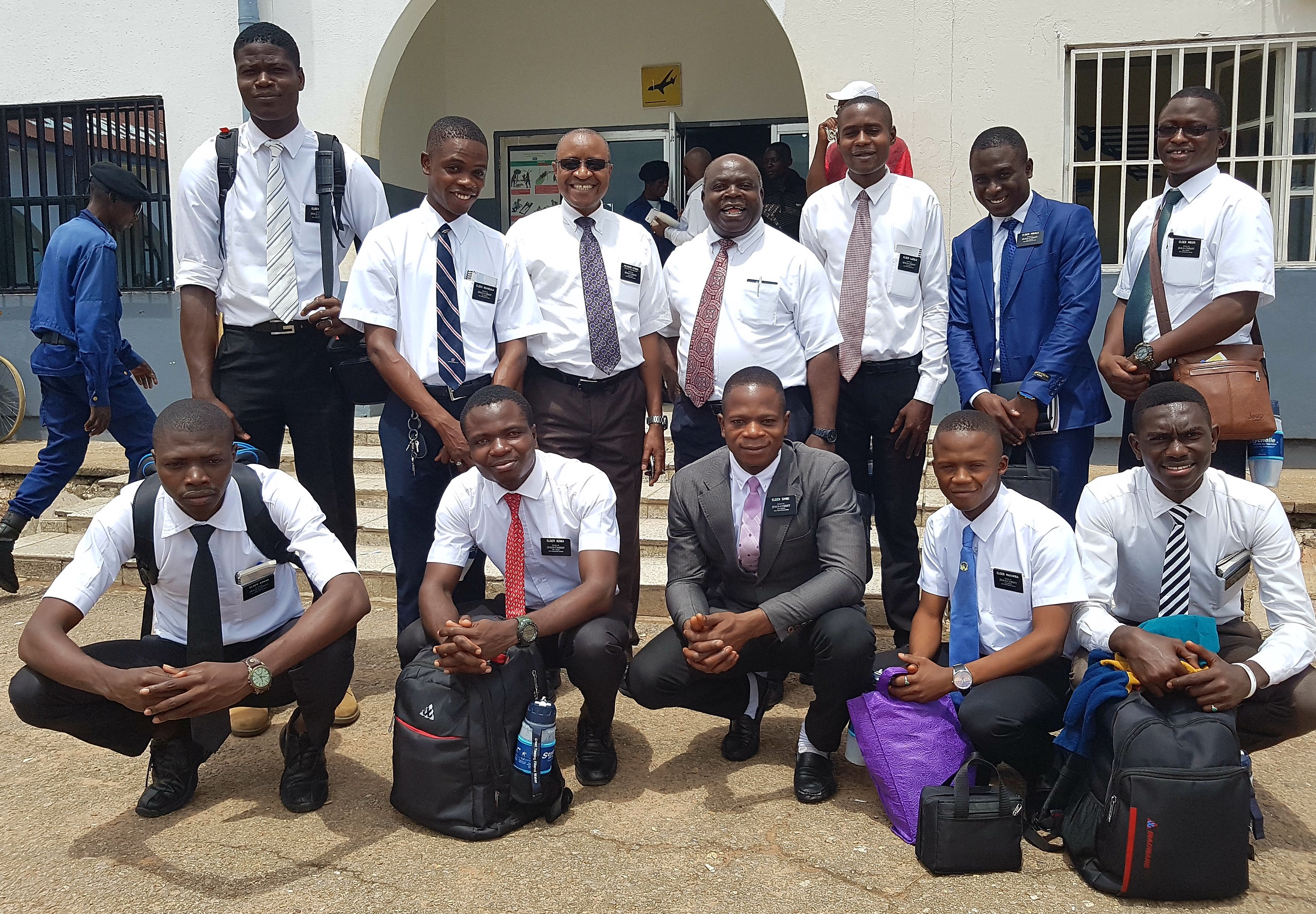 Elder Hermann Mwanken (bottom row, far right) departs for one of his first areas of labor in 2017 shortly after his arrival at the Democratic Republic of the Congo Mbuji-Mayi Mission. Elder Mwanken died Oct. 21, 2019, following a brief illness.