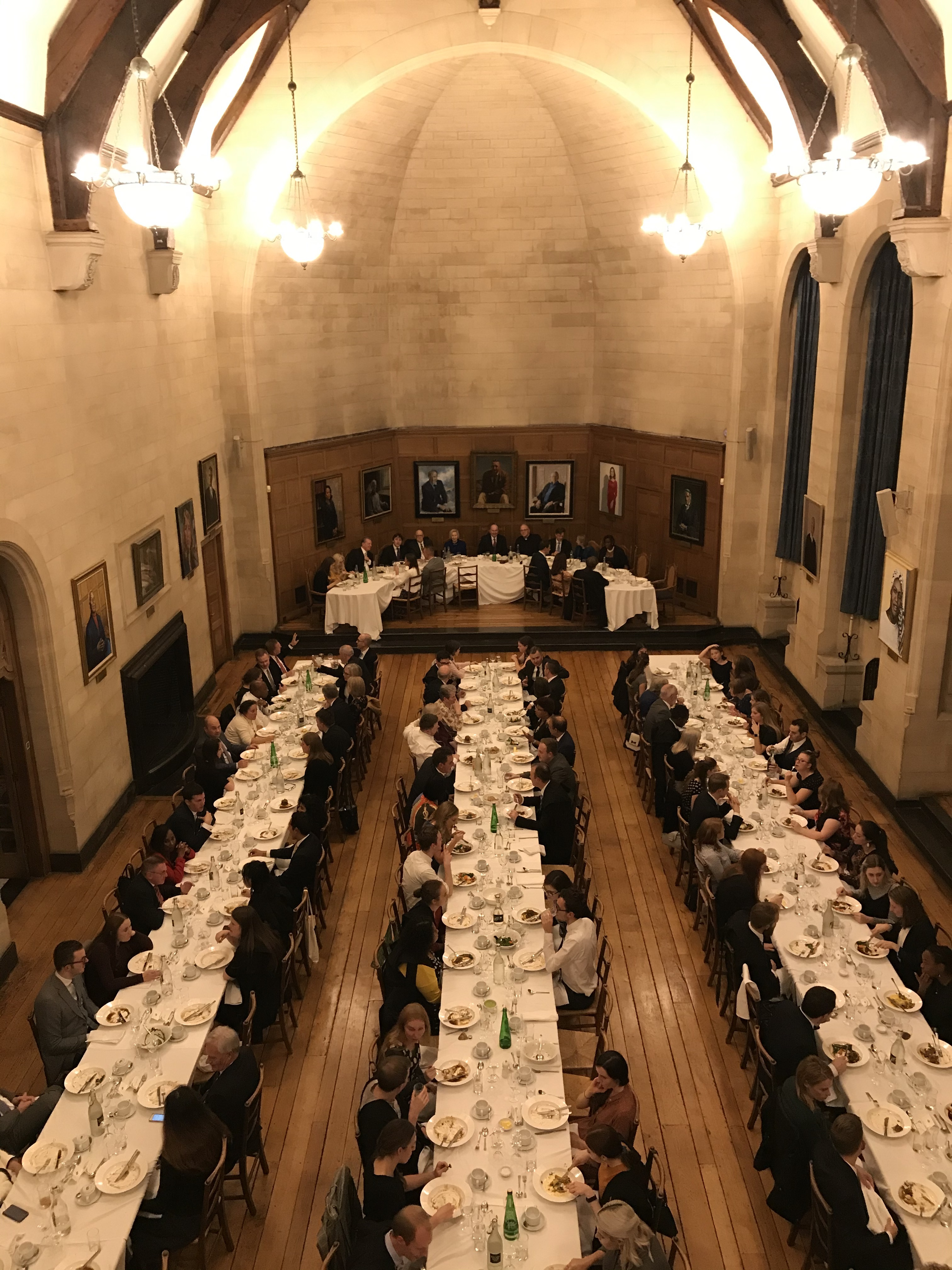 """Elder Quentin L. Cook and his wife, Sister Mary Cook, participate in a dinner held Milner Hall in the Rhodes House. The dinner followed a U.S. Constitutional event titled """"Religious Freedom, the U.S. Constitution, and the American Founding"""" held at Pembroke College, Oxford, during which Elder Cook gave the keynote address."""