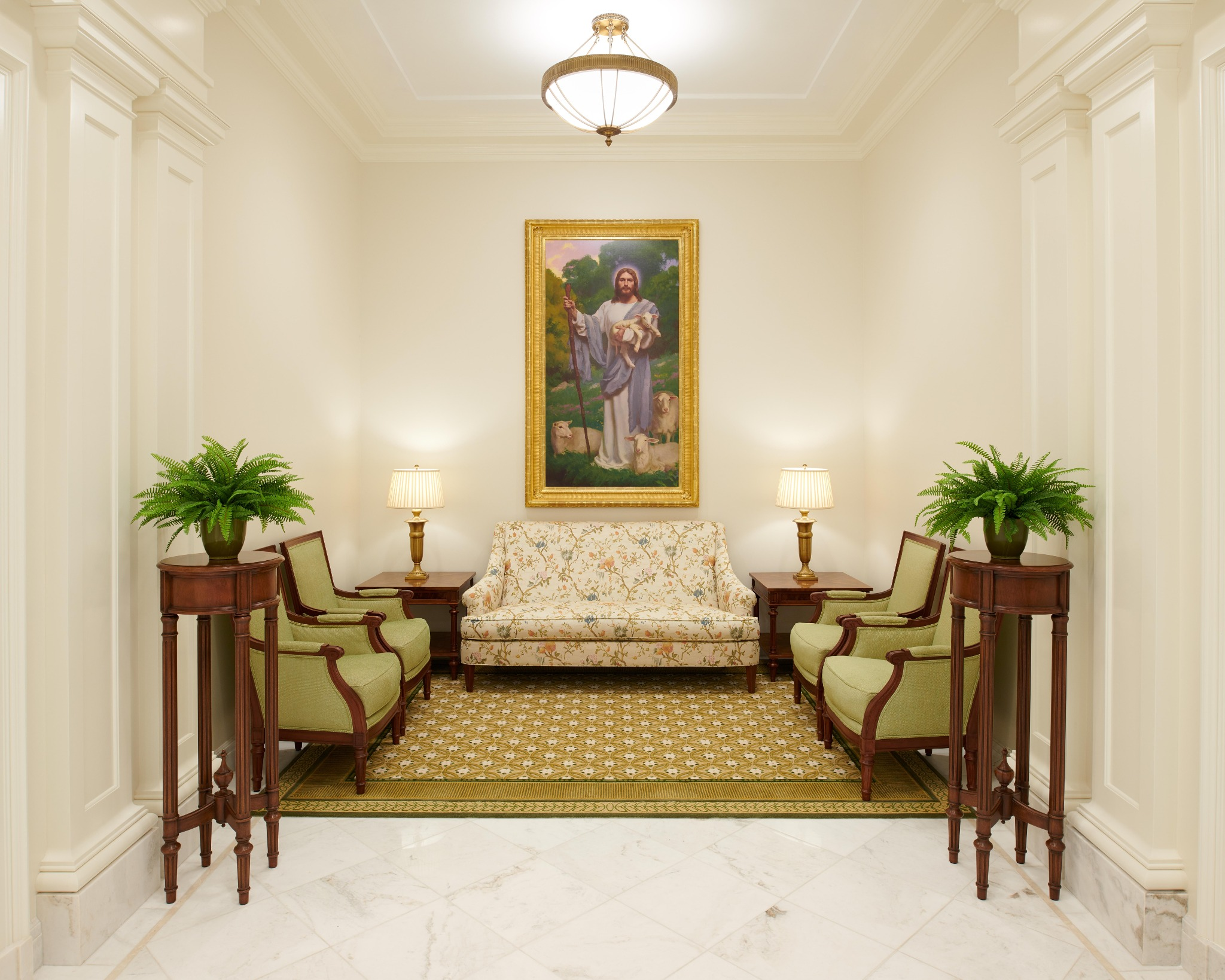 Paintings depicting Jesus Christ in various biblical settings are located throughout the Baton Rouge Louisiana Temple.