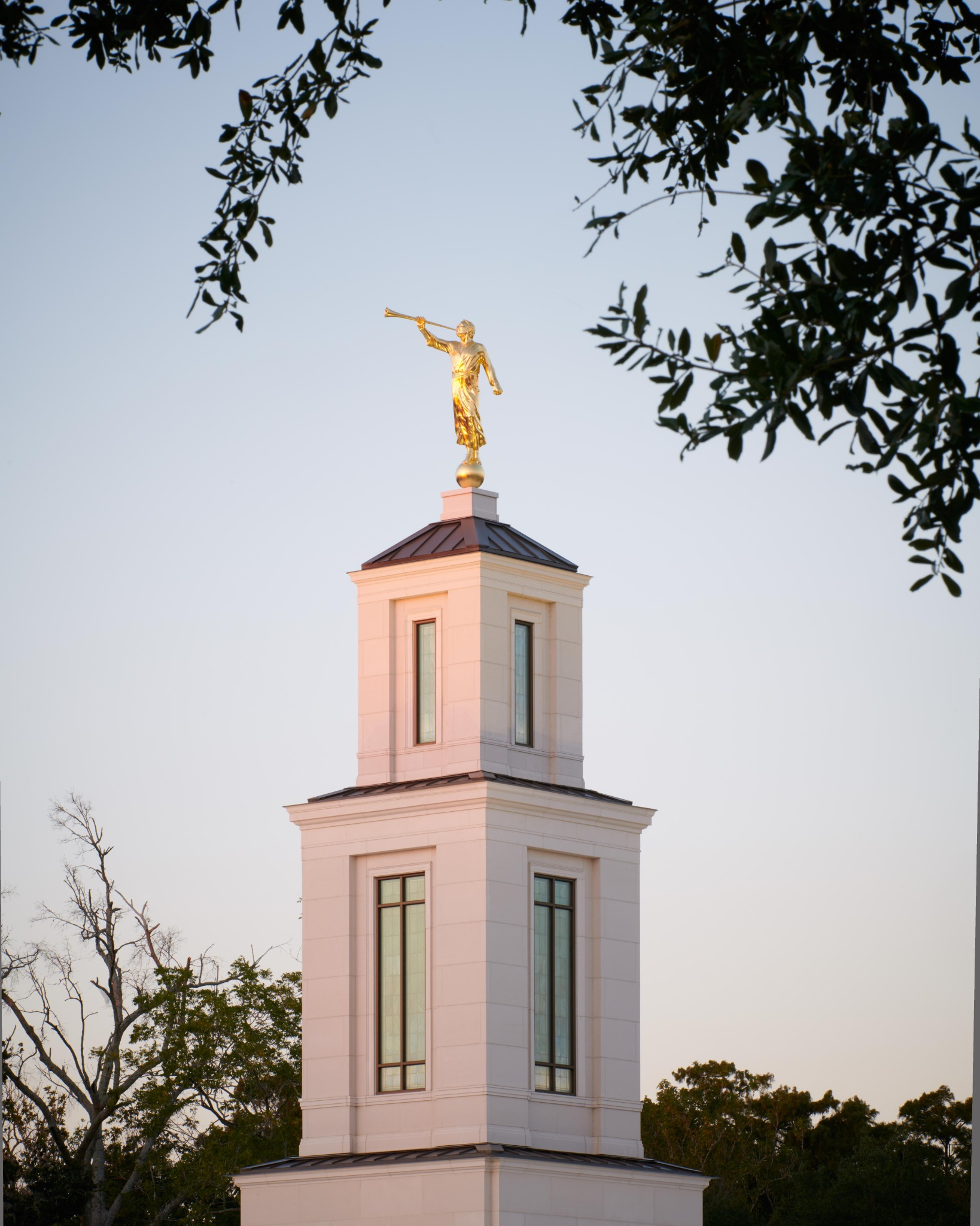 The statue of angel Moroni, an ancient Book of Mormon prophet, atop the Baton Rouge Louisiana Temple.