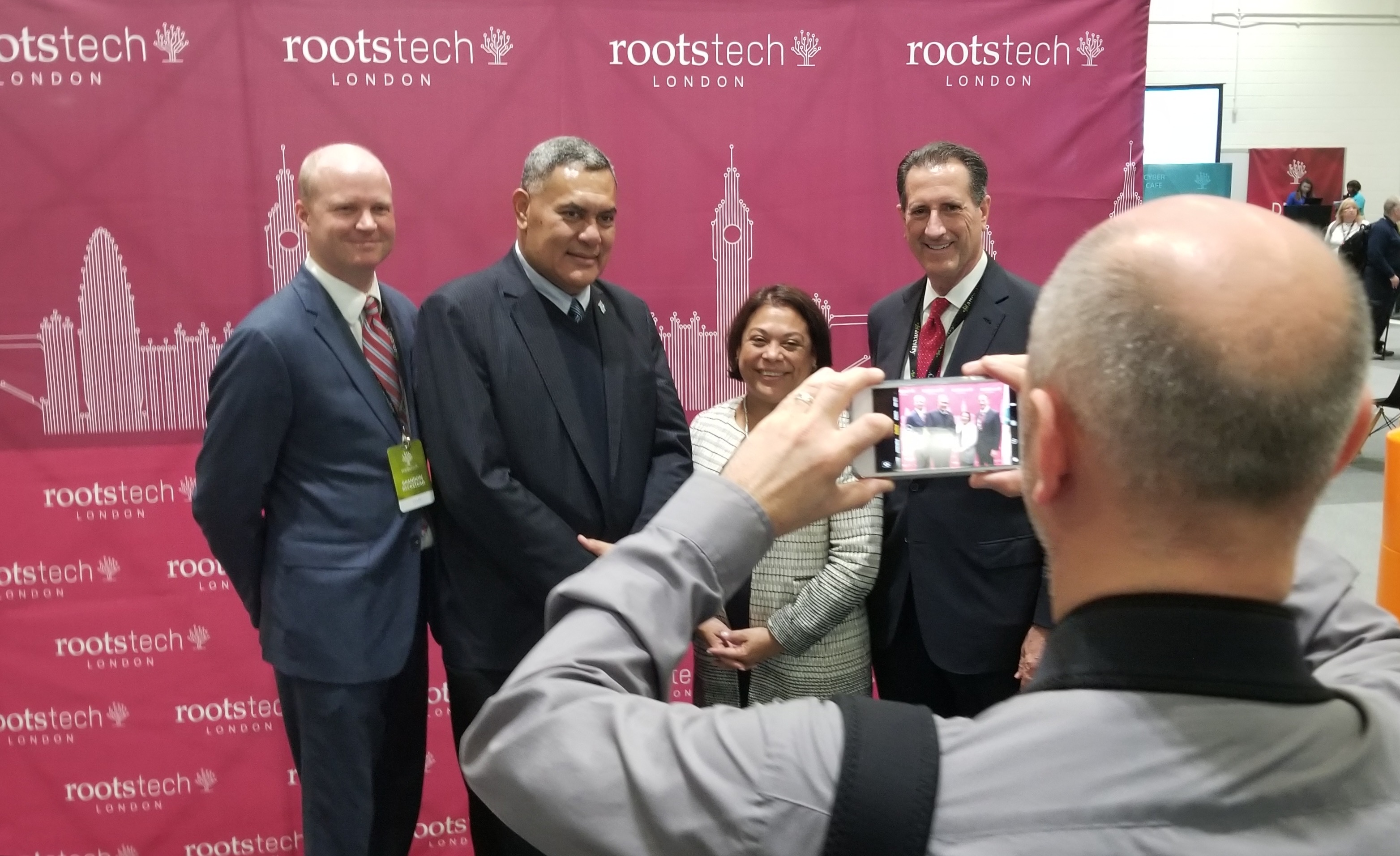 Guests are photographed in the VIP section of the RootsTech London exhibition hall during tours for ambassadors and records custodians on Thursday, Oct. 24, 2019, in London, Great Britain.