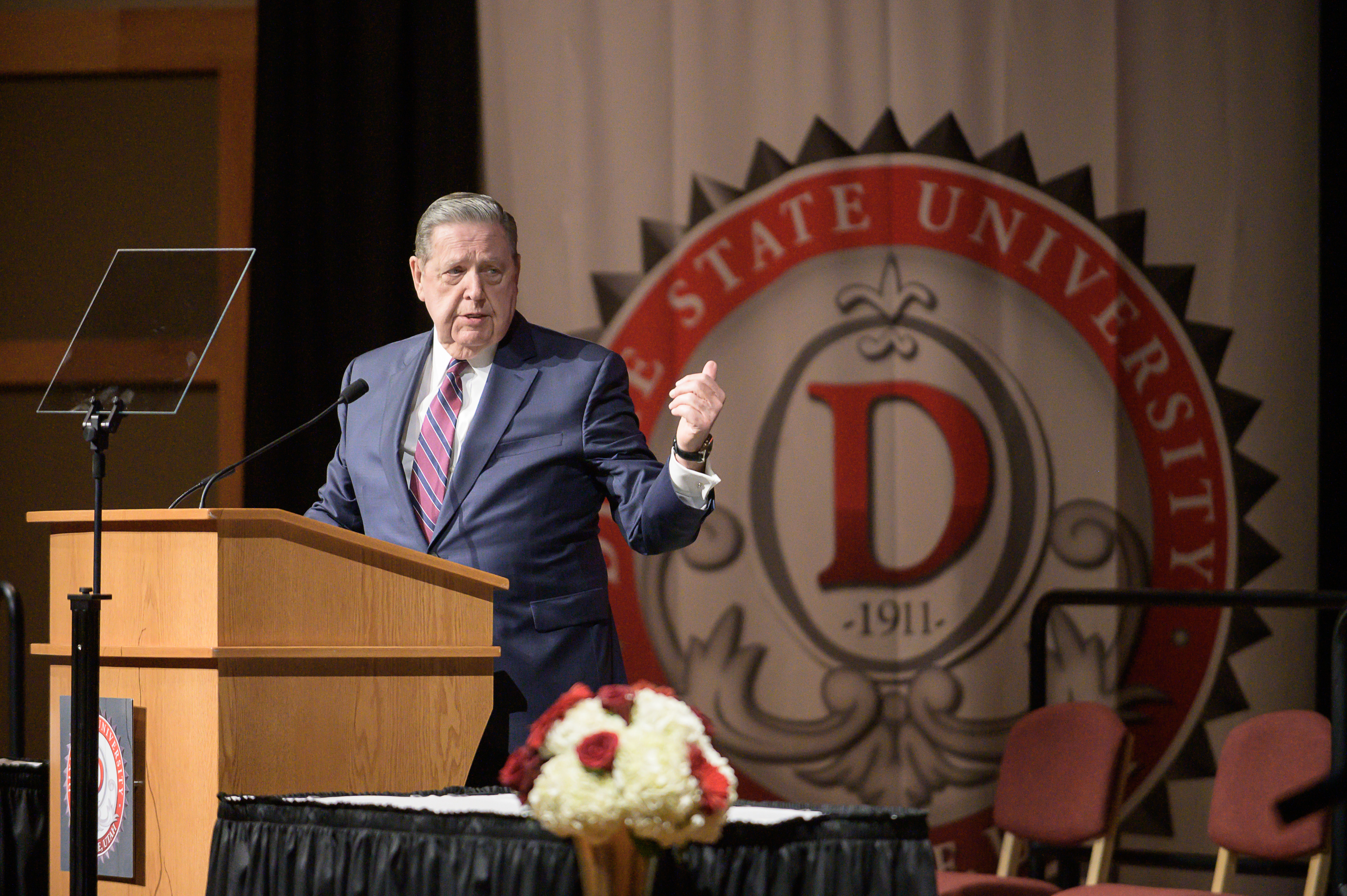 Elder Jeffrey R. Holland, a member of the Quorum of the Twelve Apostles of The Church of Jesus Christ of Latter-day Saints, speaks at the Dixie State University Alumni Banquet Friday, Oct. 25, 2019, in St. George.