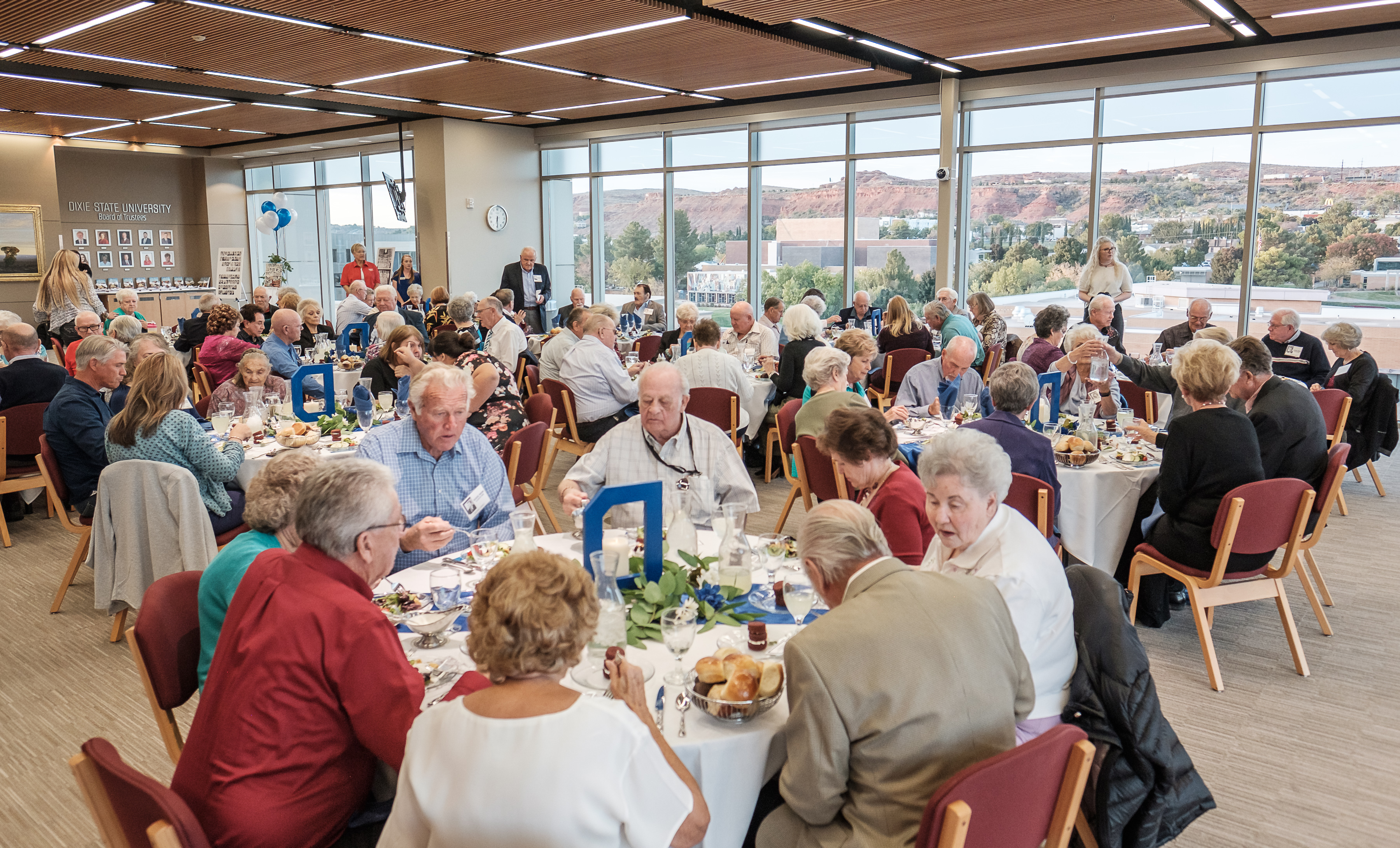 Members and guests of the Dixie High School class of 1959 eat dinner during a reunion held in the Jeffrey R. Holland Centennial Commons building on the campus of Dixie State University in St. George on Thursday, Oct. 24, 2019.