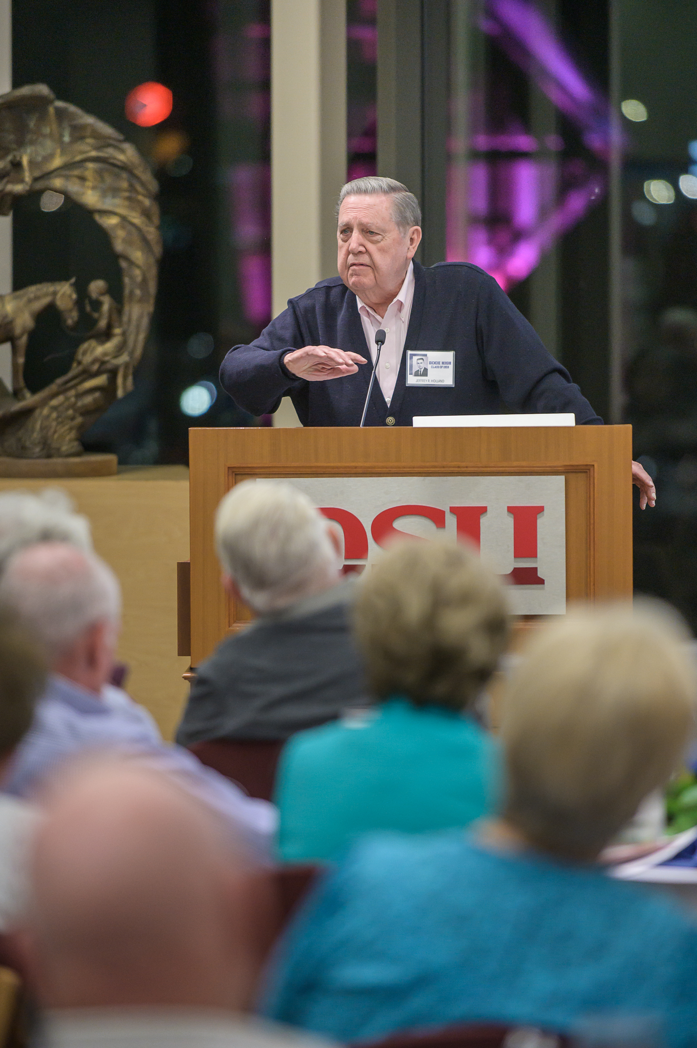Elder Jeffrey R. Holland, a member of the Quorum of the Twelve Apostles of The Church of Jesus Christ of Latter-day Saints, speaks to his high school classmates and other guests at the 60-year reunion for the Dixie High School class of 1959 on Thursday, Oct. 24, 2019, in St. George.