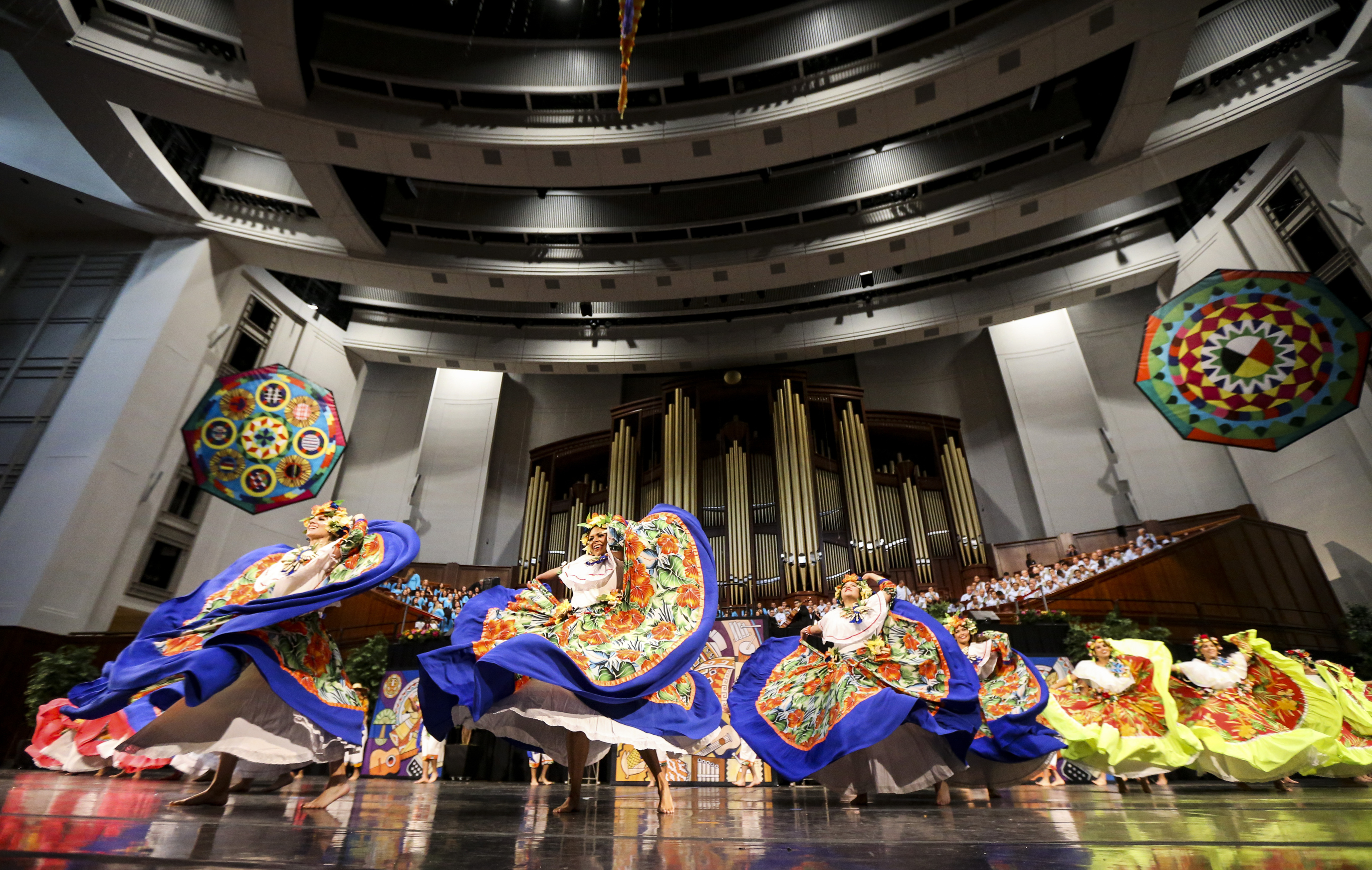 Dancers perform during the dress rehearsal of the Brazilian dance Sinha Pureza for the Luz de las Naciones performance at the Conference Center in Salt Lake City on Saturday, Oct. 26, 2019.