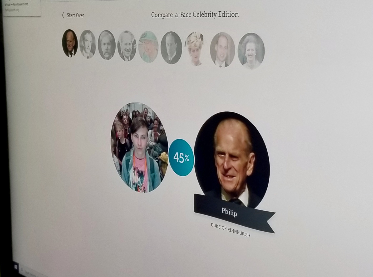 A young man's face matches Prince Phillip's on Oct. 26, 2019, in the RootsTech London discovery activity of matching one's face to British royalty.