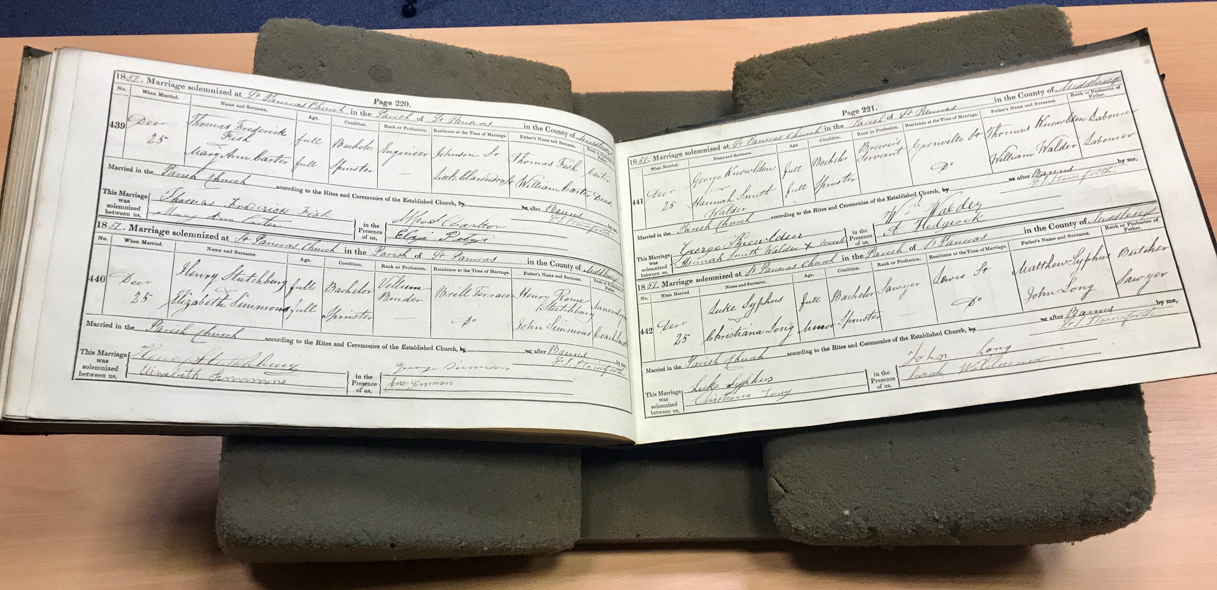 The St. Pancras Parish's book containing the marriage record of Elder David A Bender's great-great-great-grandparents, Luke Syphus and Christiana Long, as shown to the apostle at the City of London Archives on Oct. 24, 2019.