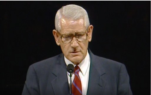 Elder Dean L. Larsen speaks during general conference in October 1992.