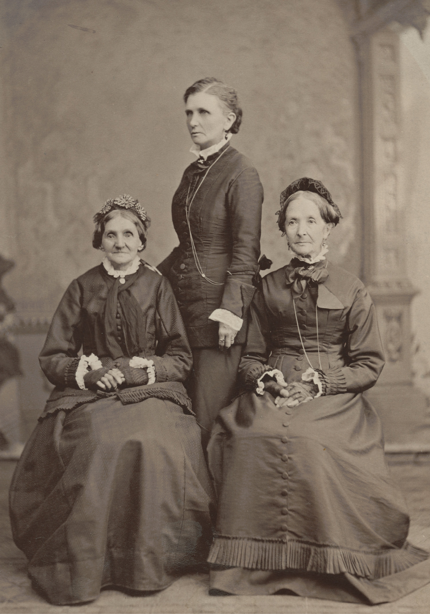 Elizabeth Ann Whitney, Emmeline B. Wells, and Eliza R. Snow. Circa 1876. Whitney, left, and Snow, right, were members of the Nauvoo Relief Society and served together when the general board of the Re- lief Society was organized in 1880. Emmeline B. Wells, center, edited the Woman's Exponent and worked as the general secretary and then general president of the Relief Society in later years. These three women traveled often to speak to different congregations. Photograph by Charles R. Savage.