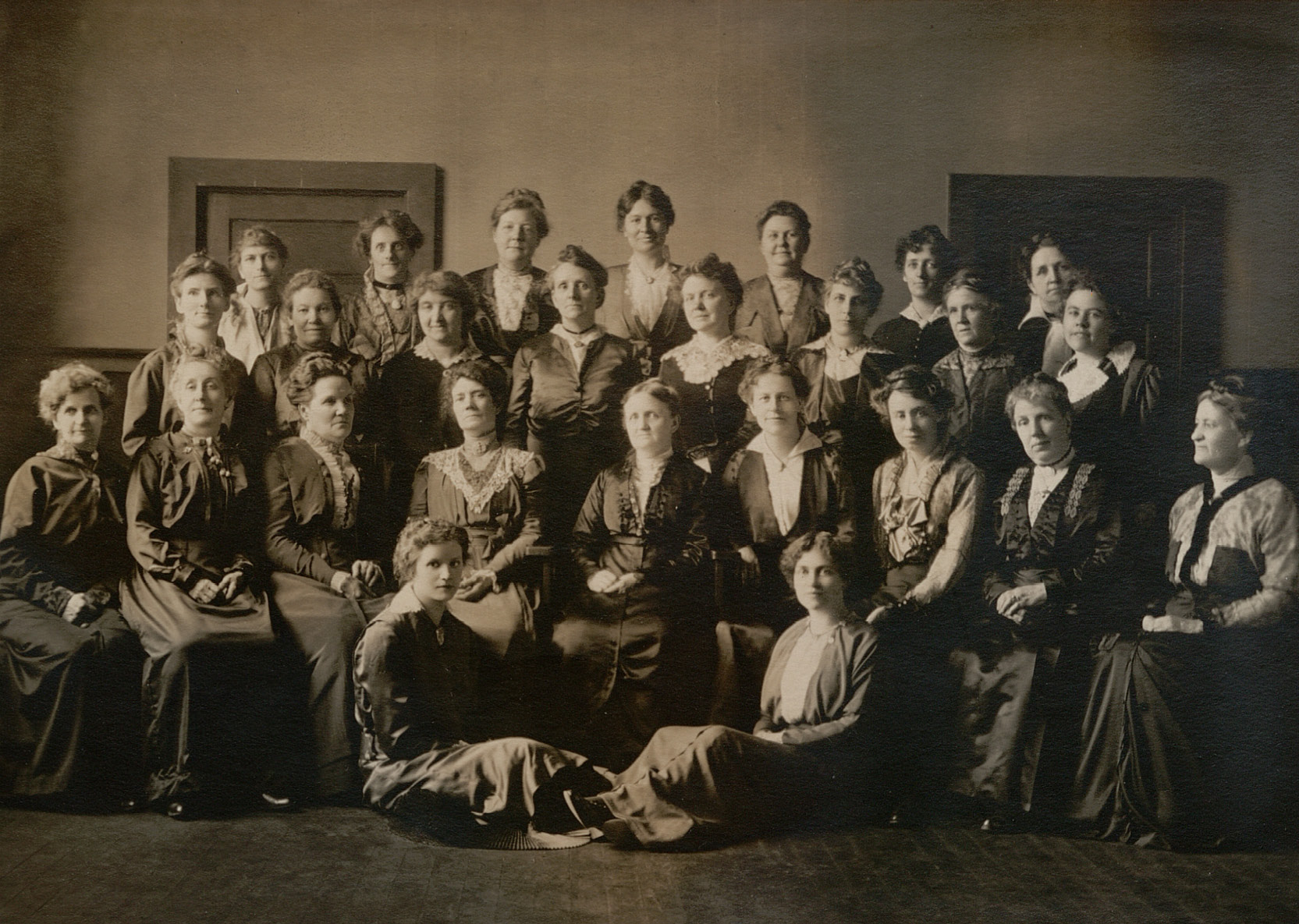 Young Ladies' Mutual Improvement Association general board, circa 1905. The first YLMIA general board was organized in 1880 under Elmina S. Taylor. The board members traveled, coordinated the efforts of local associations, corresponded with local units, conducted training, developed curriculum and programs and spoke at MIA June Conferences starting in 1896.