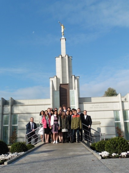Youth of the Frankfurt Germany Stake pose for a photo outside The Hague Netherlands Temple during a stake youth temple trip there.